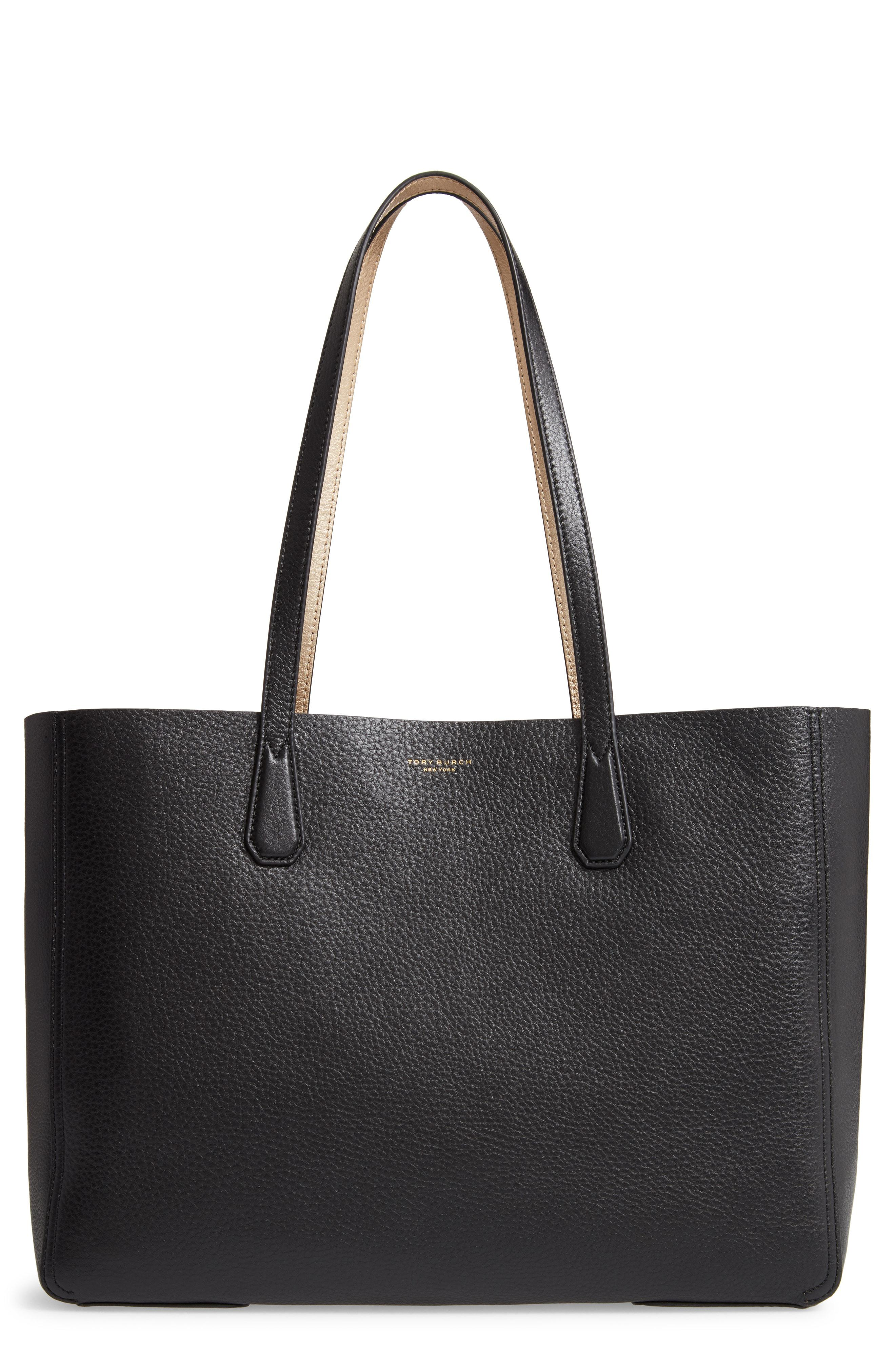 5726d79b7b0 Lyst - Tory Burch Perry Leather Tote in Black