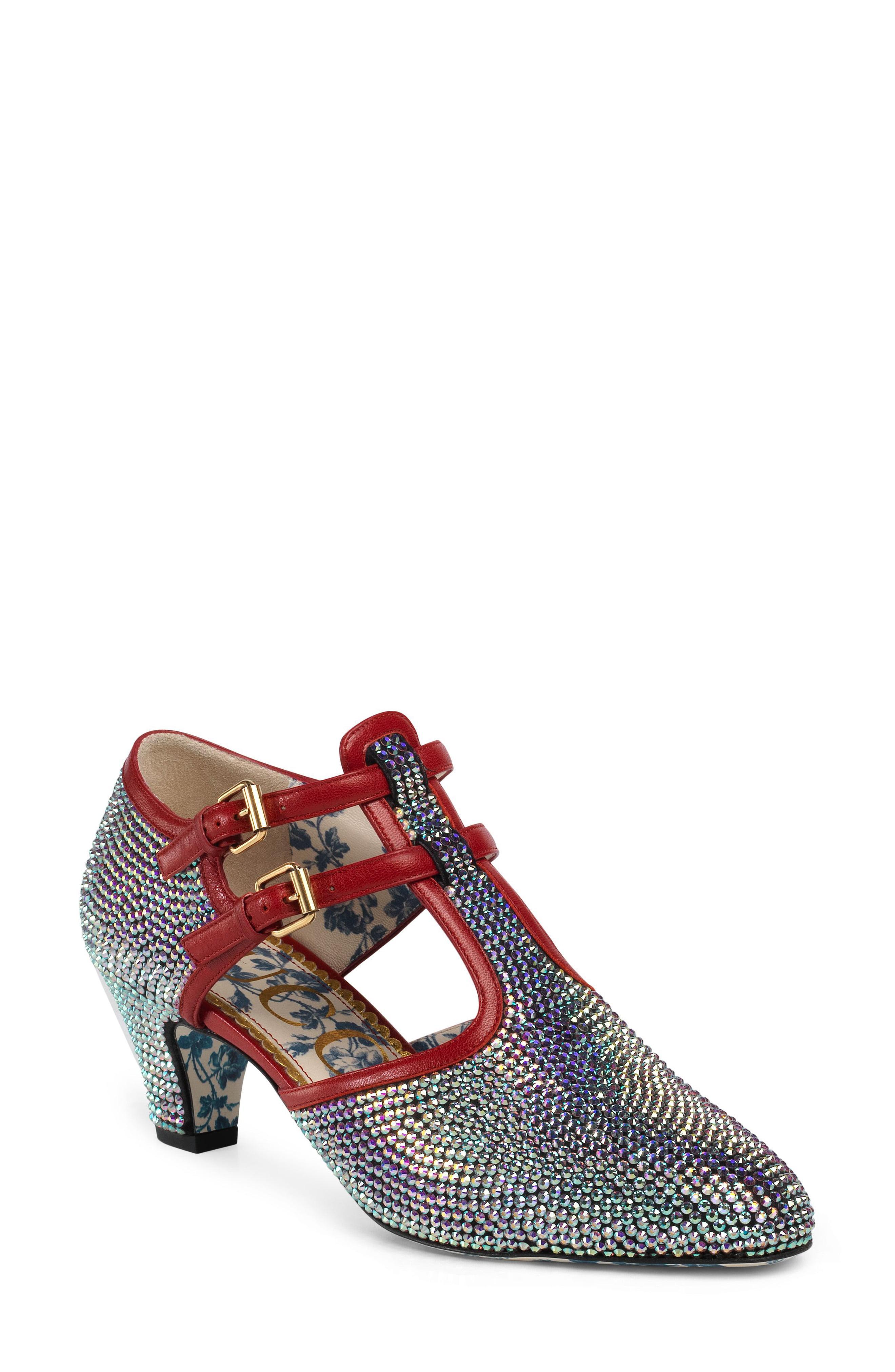 ecc13719871 Lyst - Gucci Mila Crystal Embellished T-strap Pump in Metallic ...