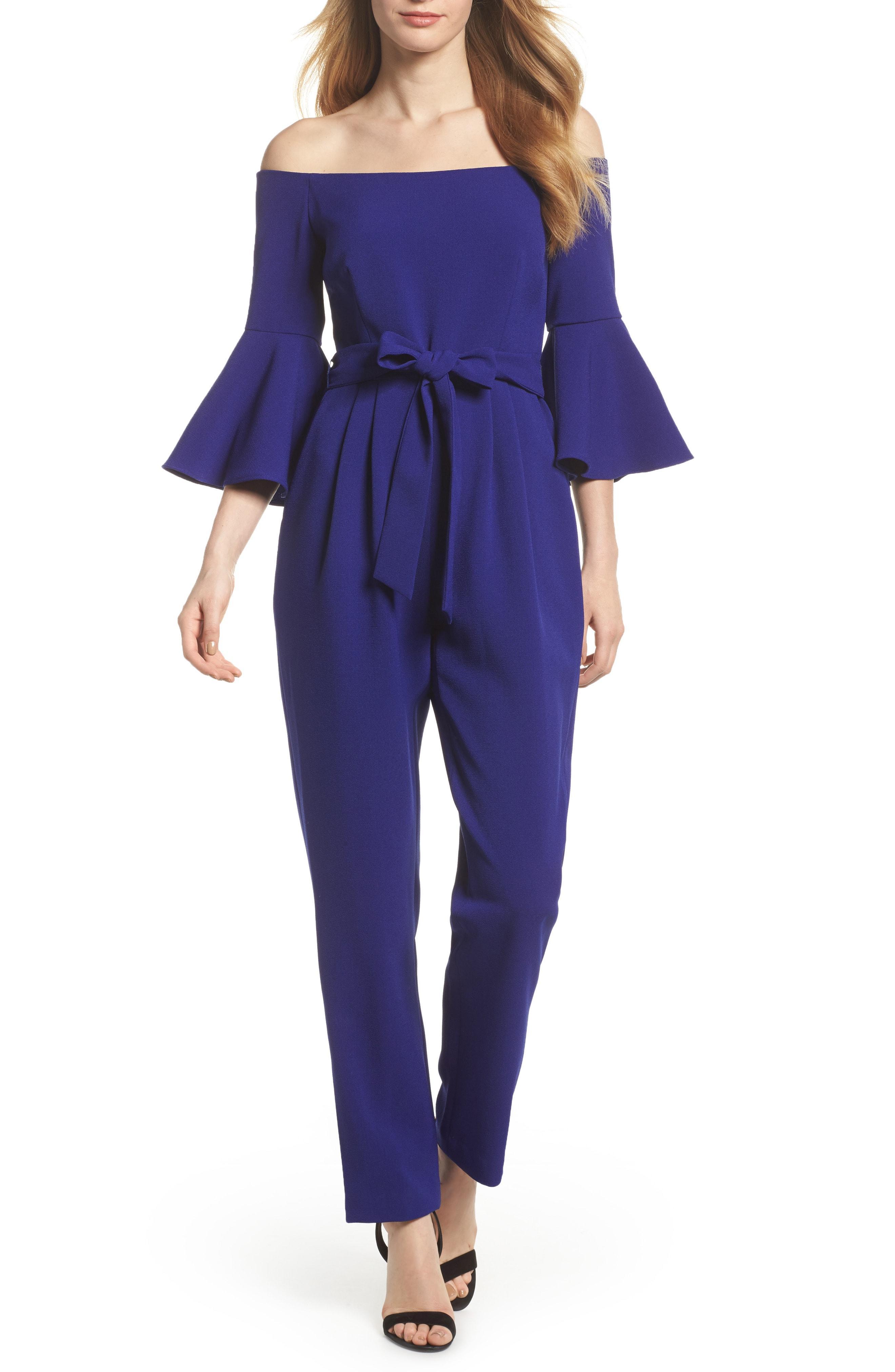 85b630626347b Eliza J Off The Shoulder Bell Sleeve Slim Leg Jumpsuit in Blue - Lyst