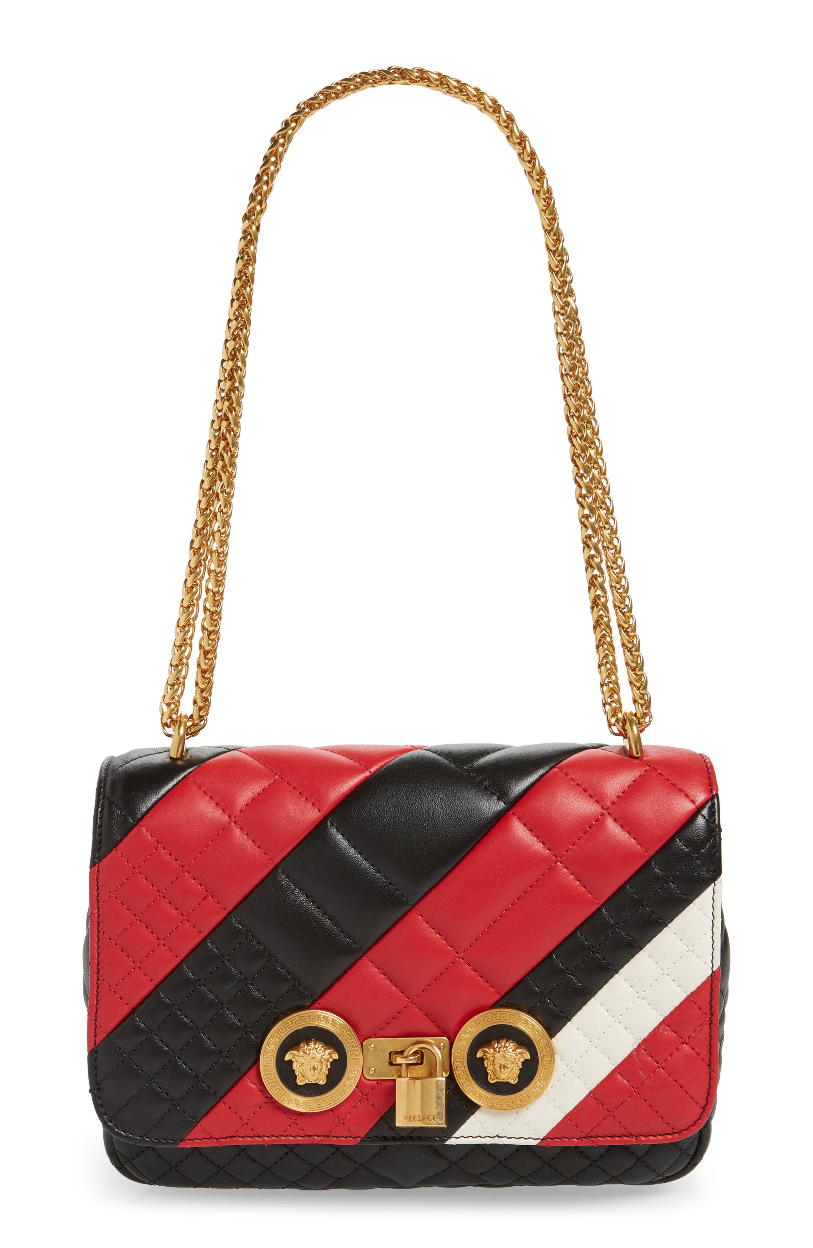 e50ef2342076 Versace - Red Icon Stripe Quilted Leather Shoulder Bag - - Lyst. View  fullscreen