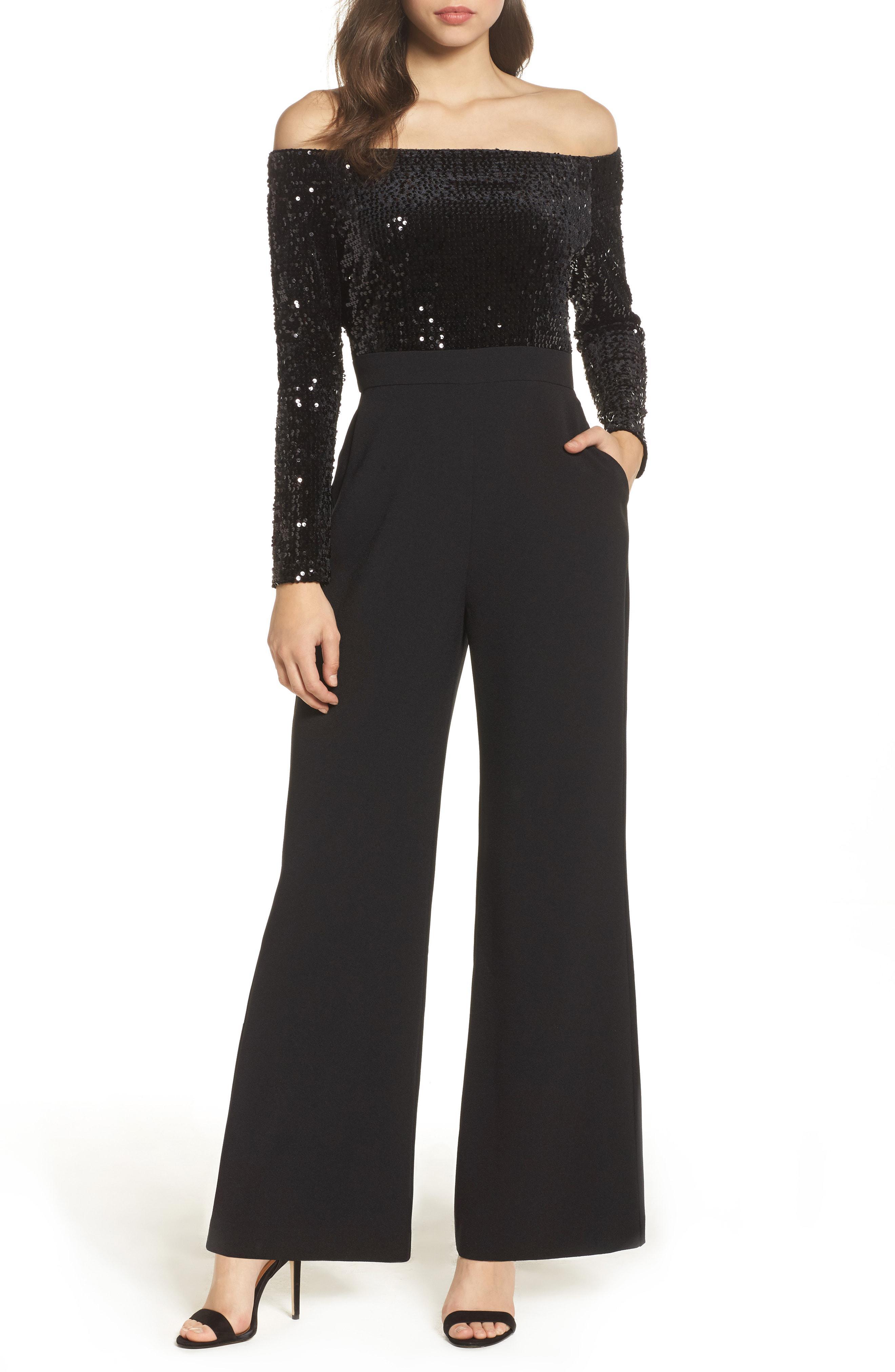 cfb752a7e1666 Lyst - Eliza J Off The Shoulder Wide Leg Jumpsuit in Black - Save 40%