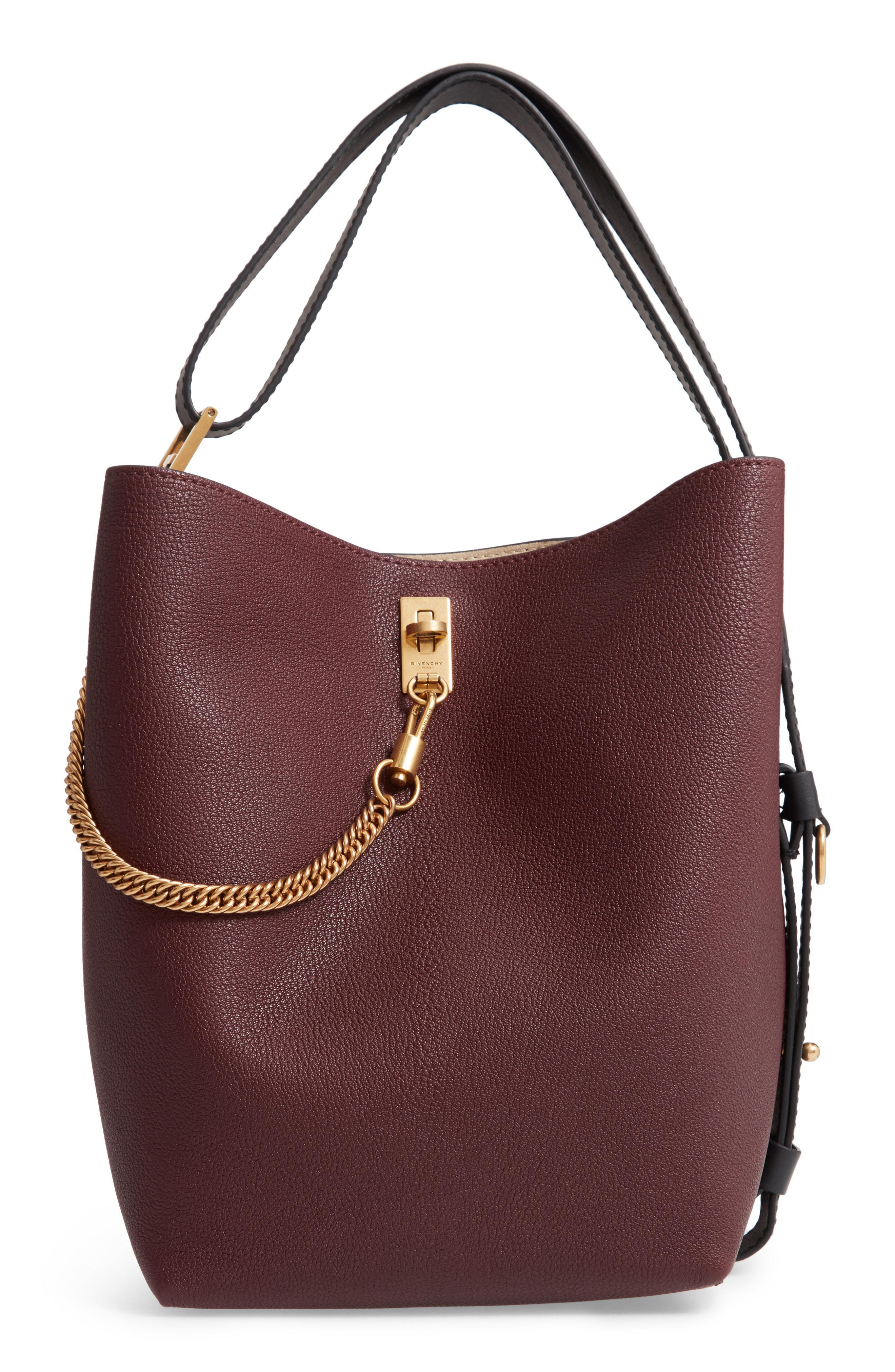 3f8df065e9 Lyst - Givenchy Medium Gv Goatskin Bucket Bag - Burgundy in Red