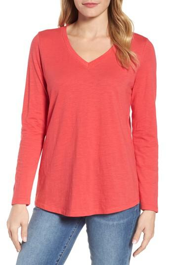 Eileen fisher organic cotton v neck tee in pink lyst for Eileen fisher organic cotton t shirt