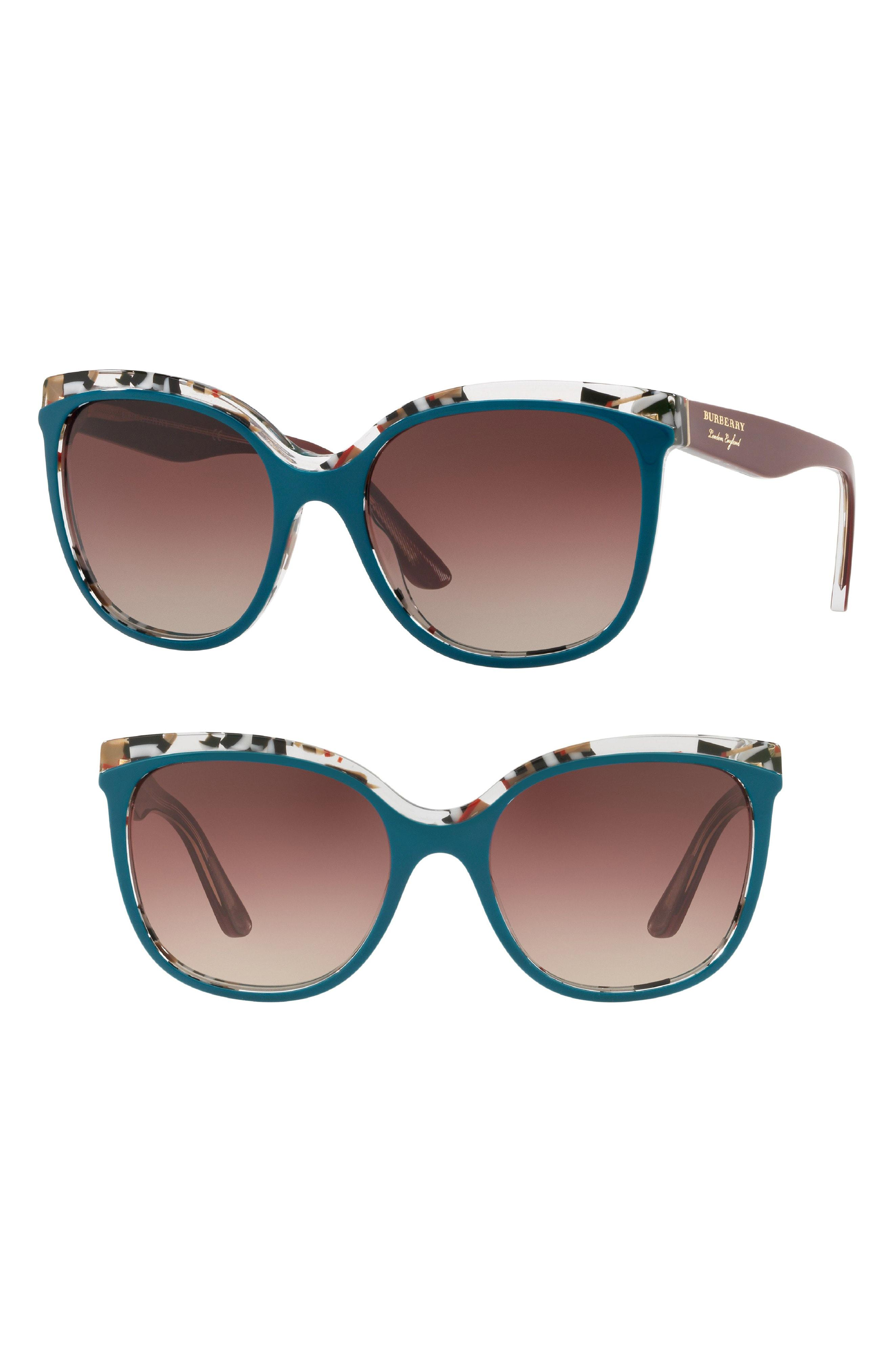 4de7f18cd13a Lyst - Burberry Marblecheck 55mm Square Sunglasses - Dark Green ...