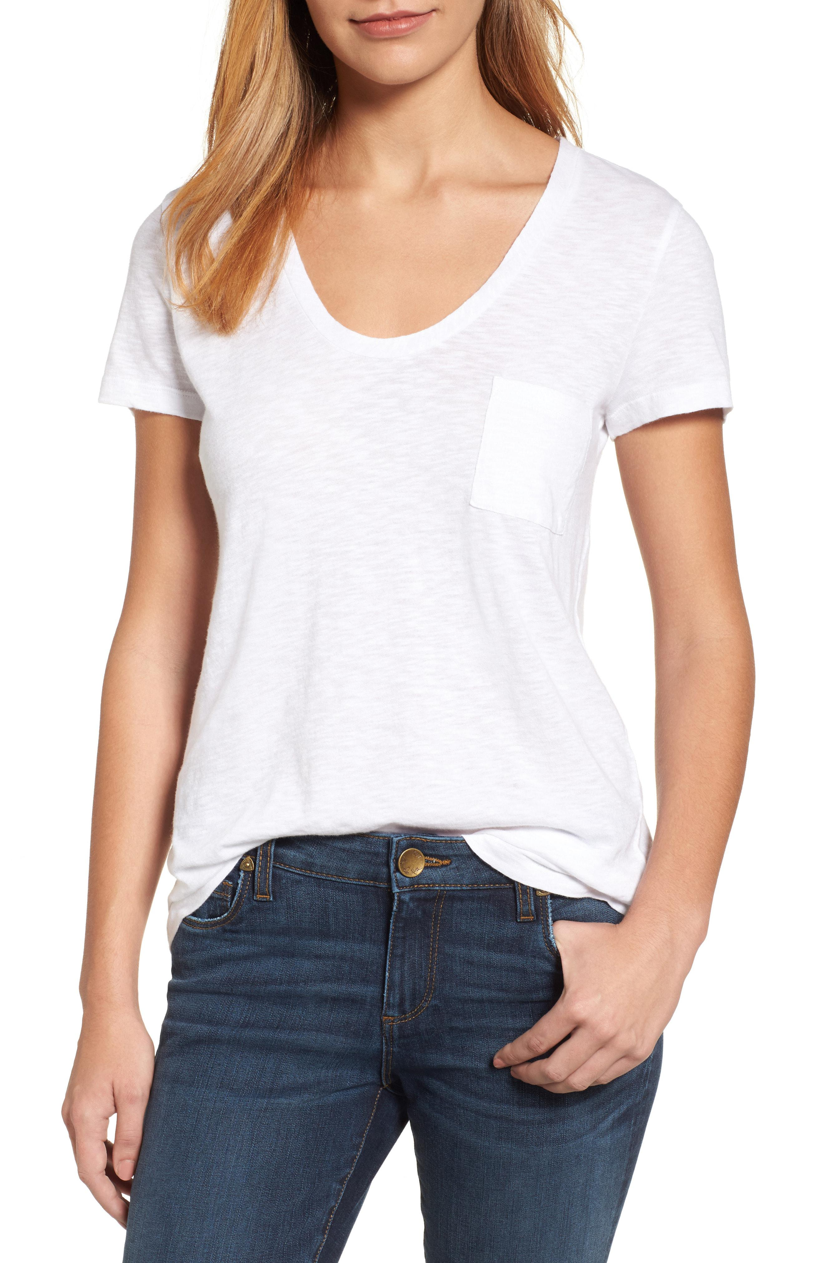 2422c0d6 Lyst - Caslon Caslon Relaxed Slub Knit U-neck Tee in White