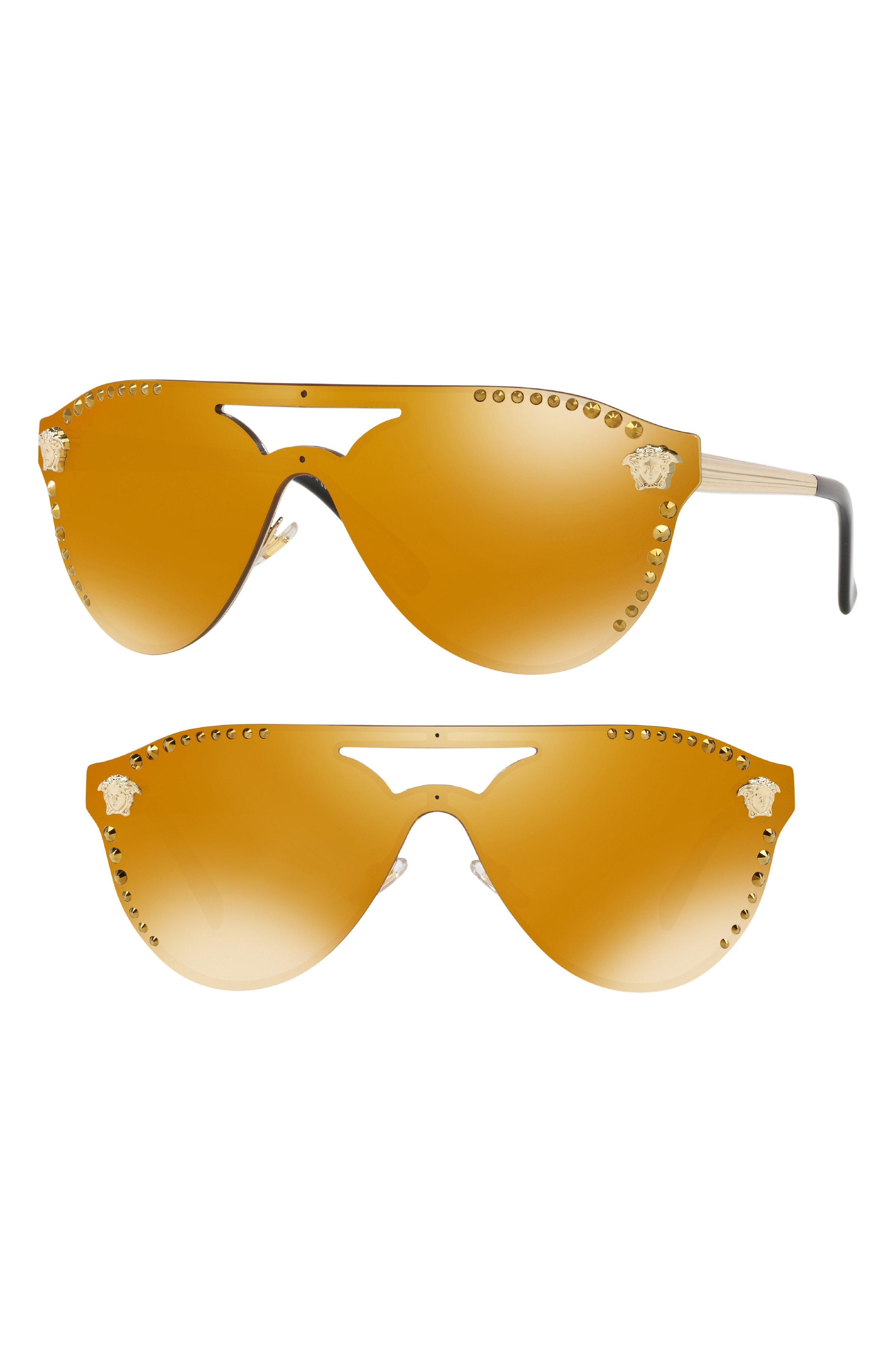 3984c7101b70 Lyst - Versace Medusa 60mm Crystal Shield Sunglasses -