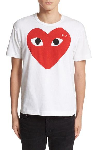 Comme Des Gar Ons Play Heart Face Graphic T Shirt In White
