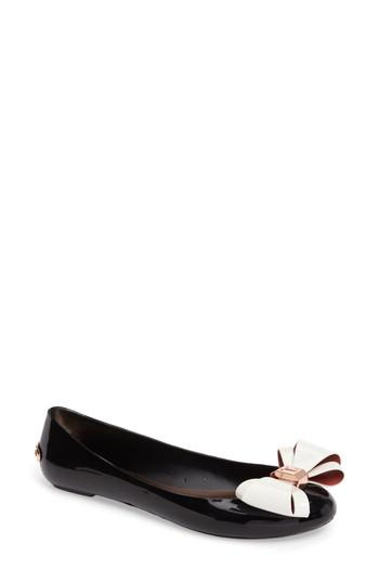 41737400c7 Ted Baker Julivia Bow Flat in Black - Lyst