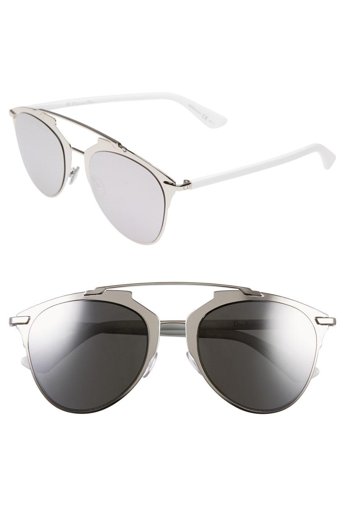 89b68ca89501 Lyst - Dior Reflected 52mm Brow Bar Sunglasses - Palladium  White in ...