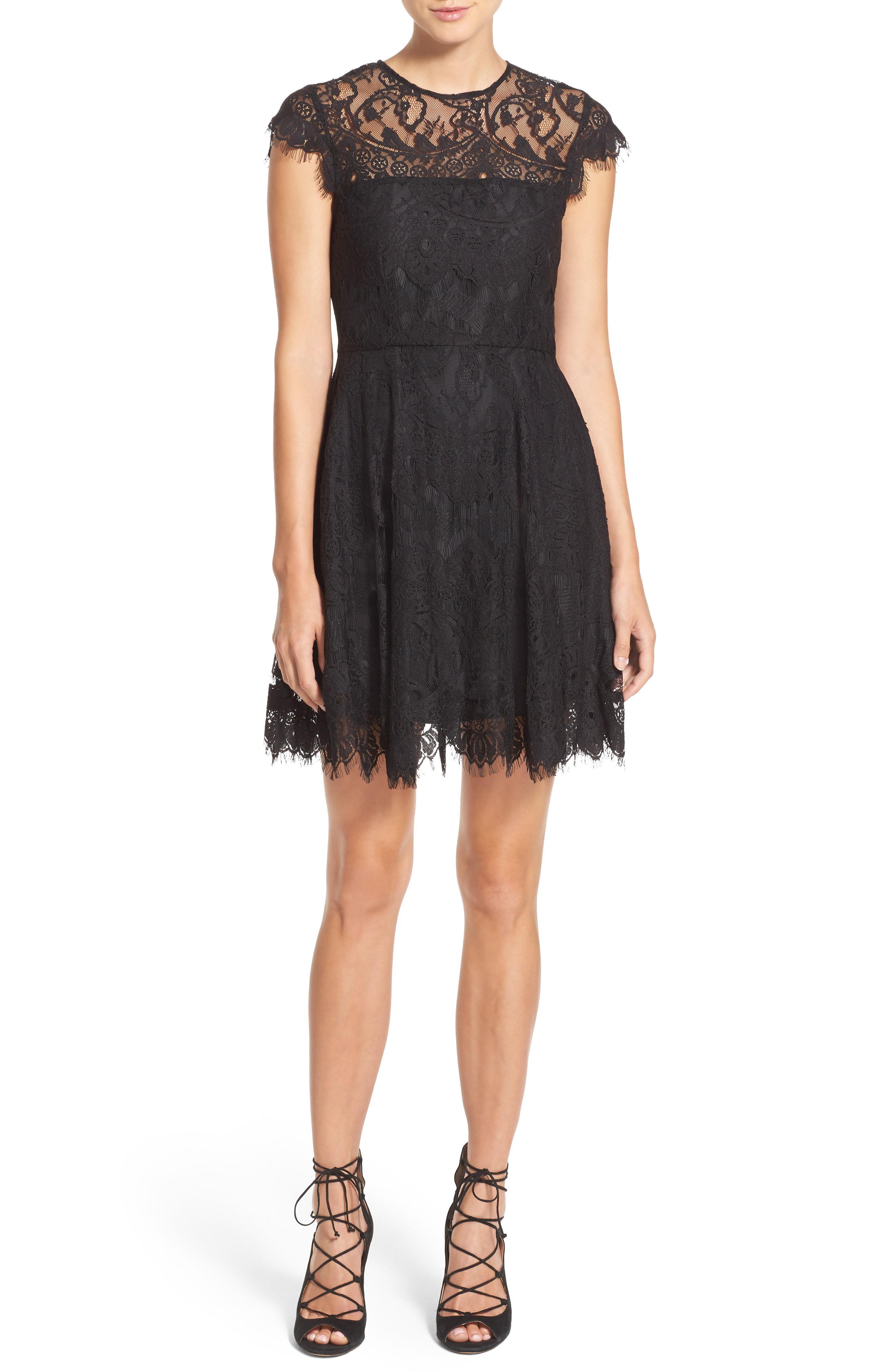 6a4faf658b0 Lyst - Bb Dakota  rhianna  Illusion Yoke Lace Fit   Flare Dress in Black