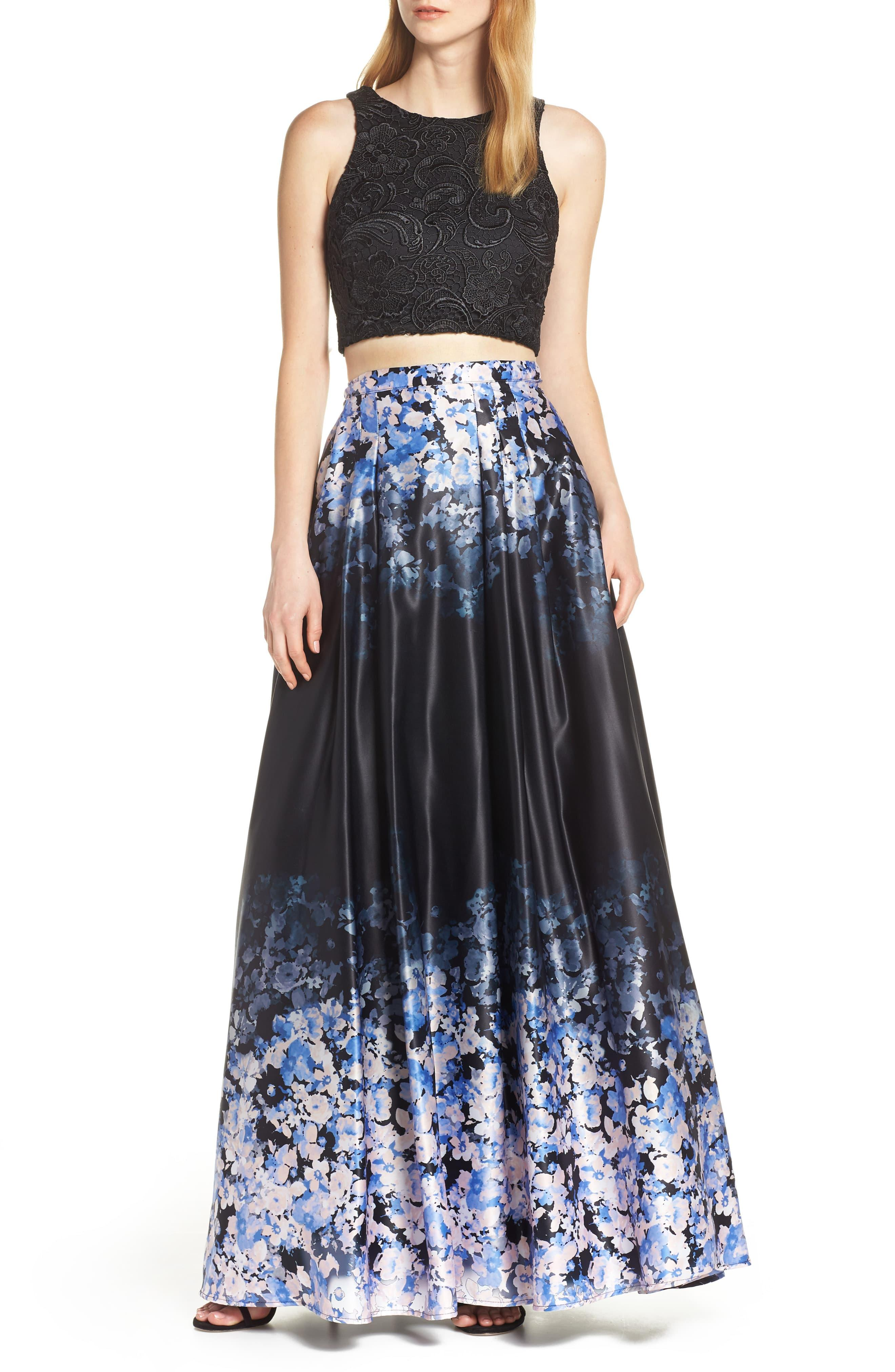 bb597334769ef Sequin Hearts Satin & Lace Two-piece Evening Dress in Blue - Lyst
