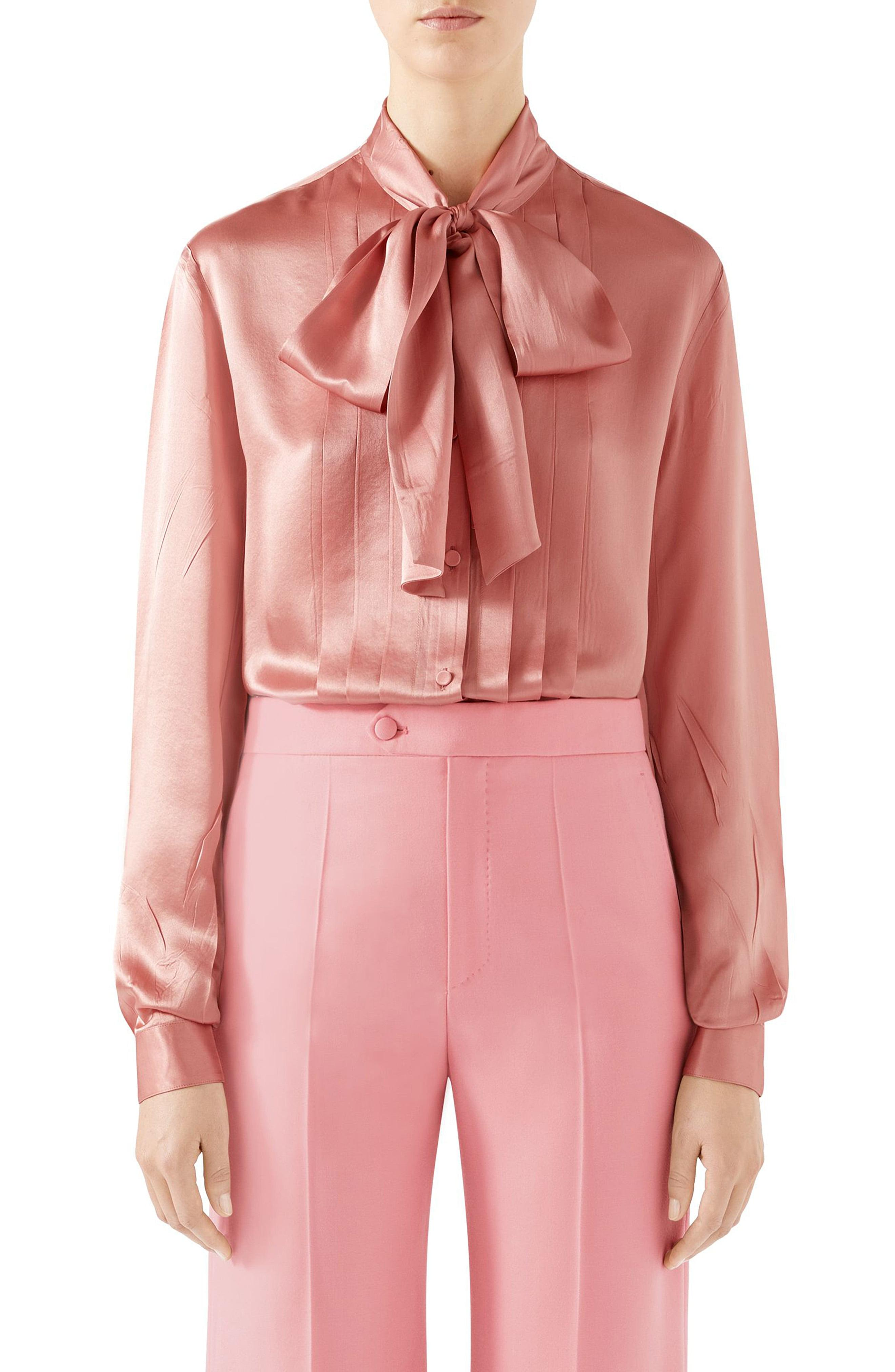 80e719b1a Lyst - Gucci Silk Satin Bow Blouse in Pink
