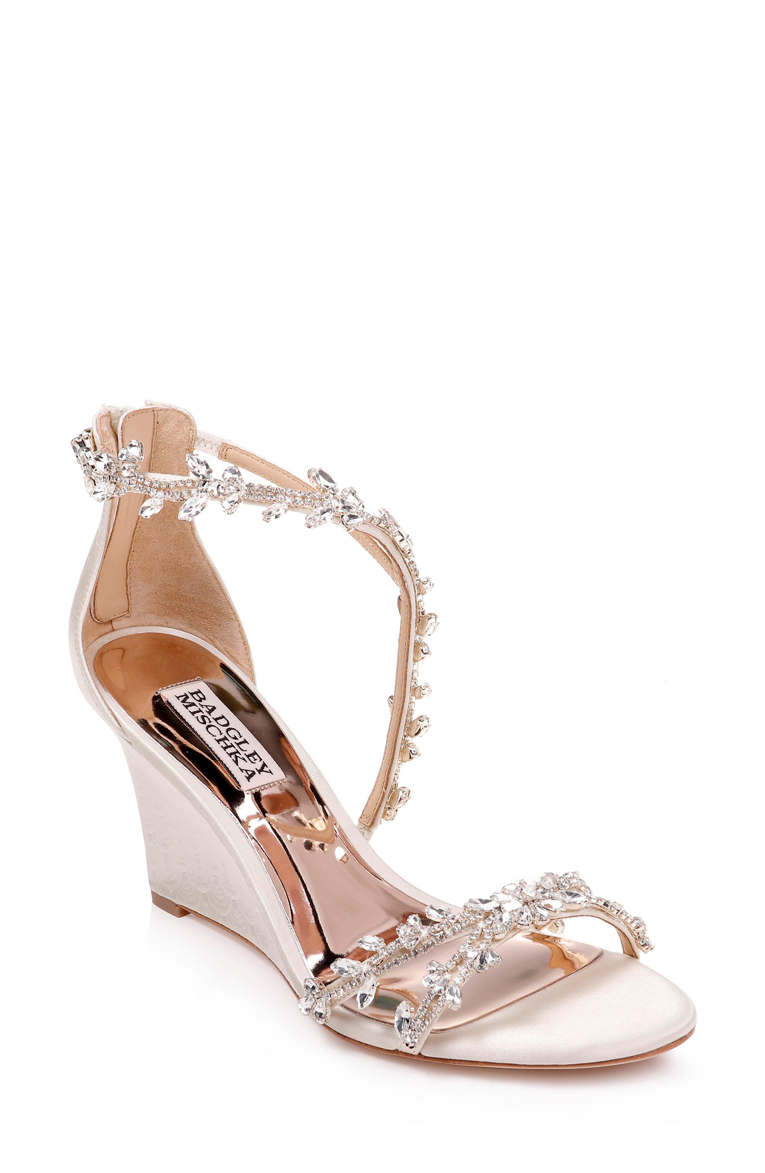 161879aa16c Lyst - Badgley Mischka Feather Crystal Embellished Wedge Sandal