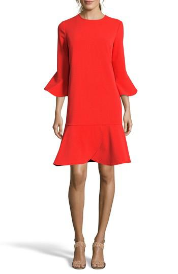 Lyst Eci Ruffle Bell Sleeve Shift Dress In Red
