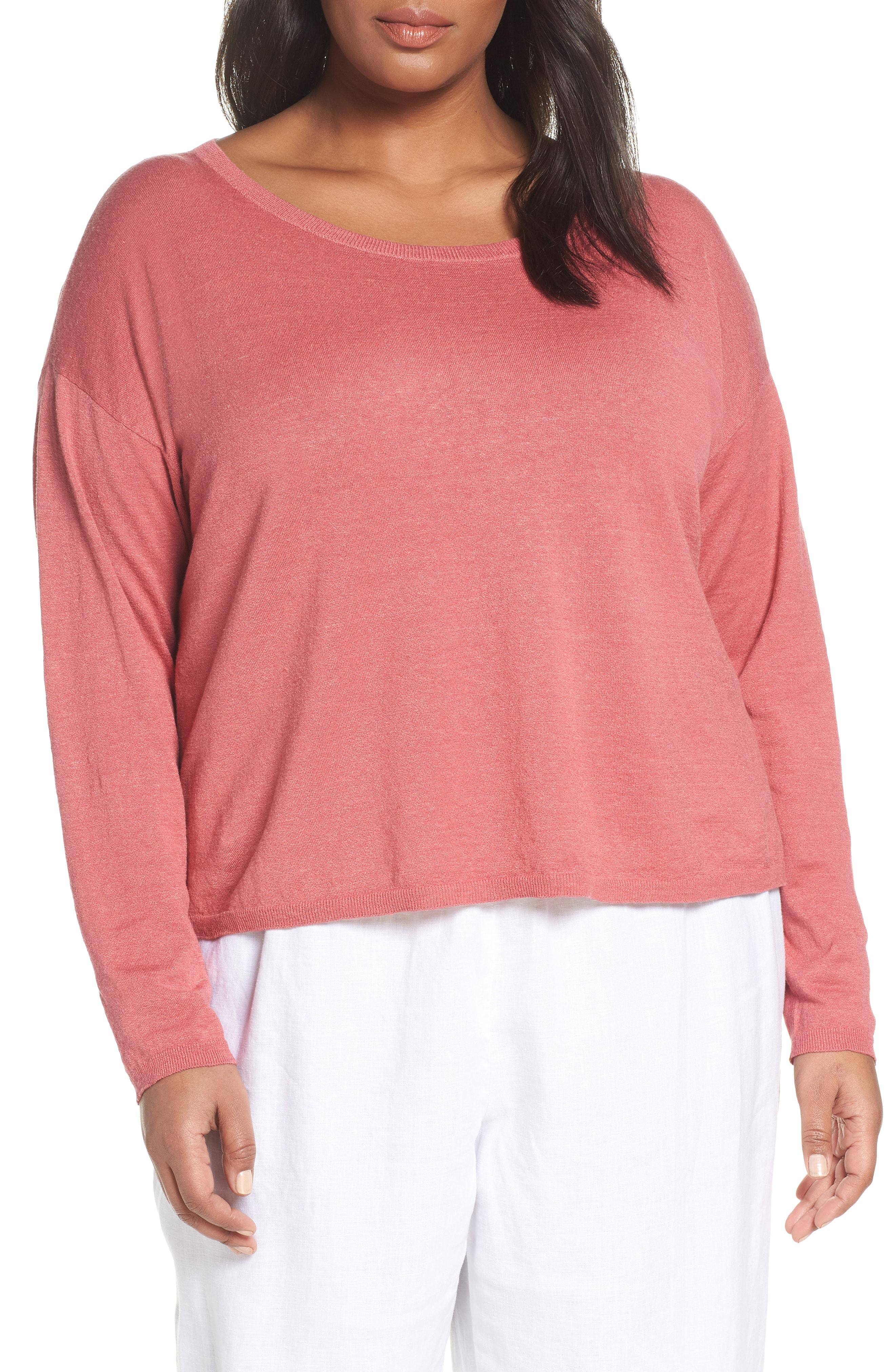 9bf4b441 Lyst - Eileen Fisher Jewel Neck Linen Blend Boxy Top in Pink