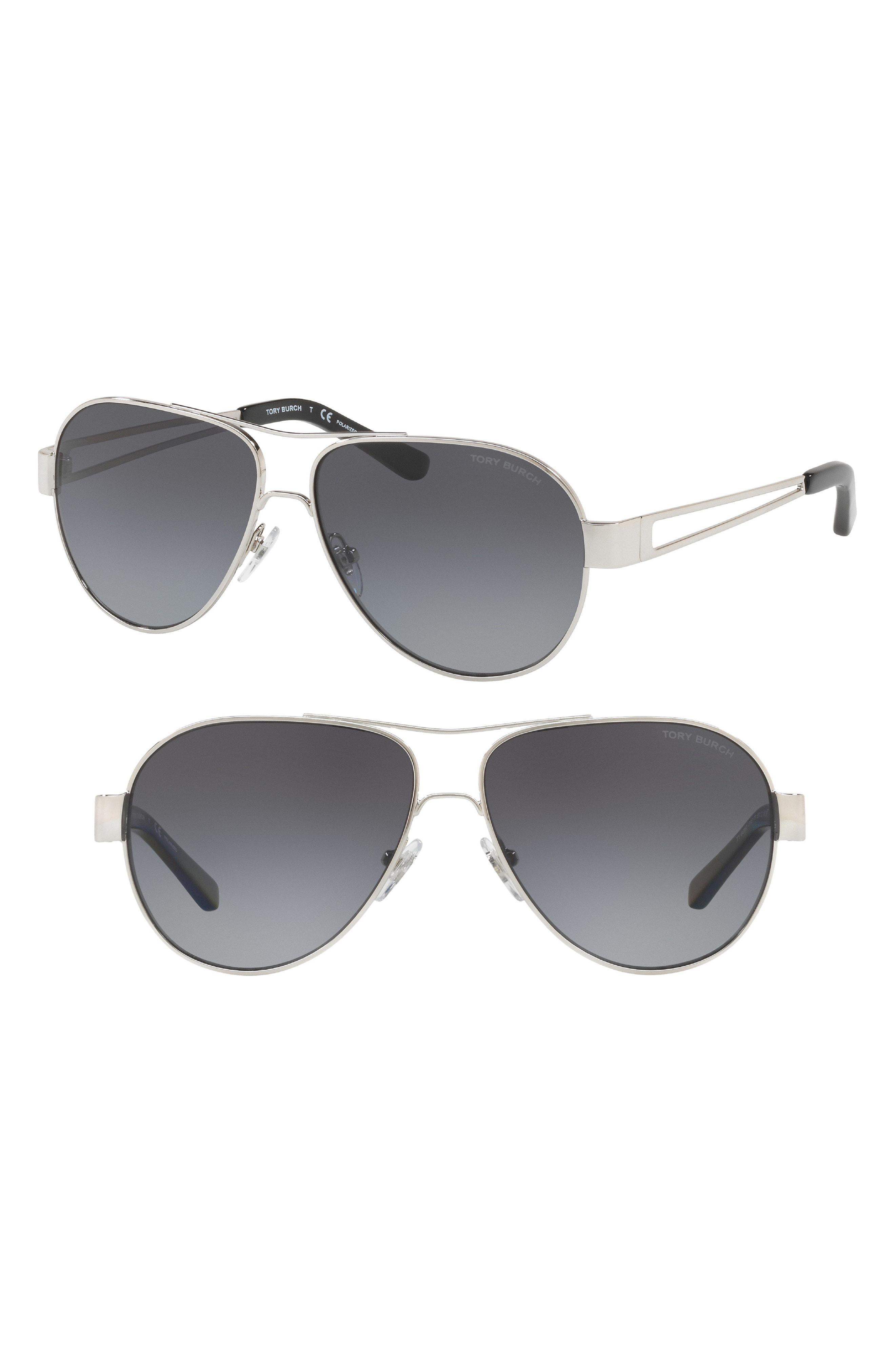 6ad02171b38 Lyst - Tory Burch 55mm Polarized Aviator Sunglasses in Metallic