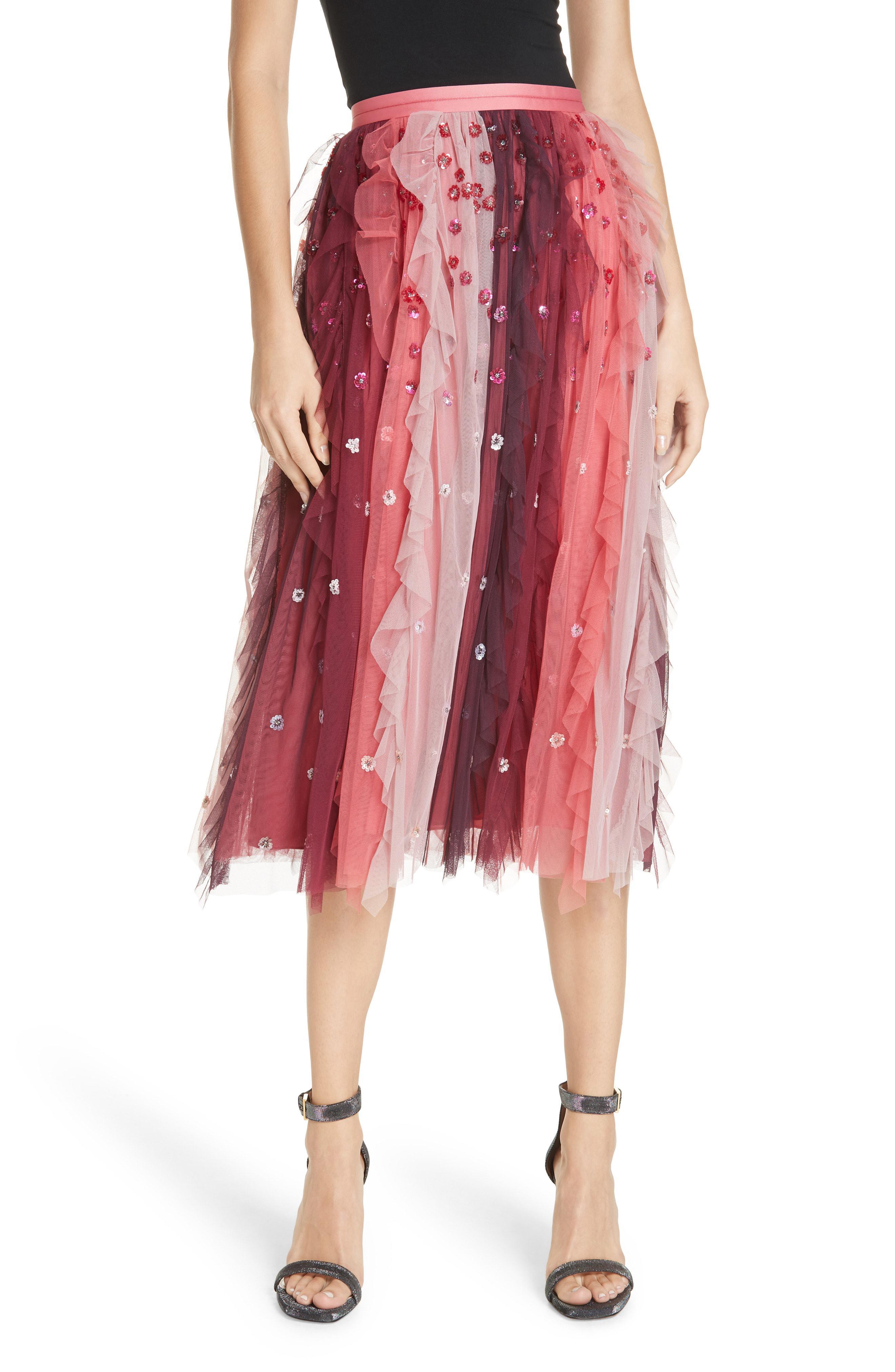 69f40fb56 Lyst - Needle & Thread Rainbow Midi Skirt in Red - Save 65%