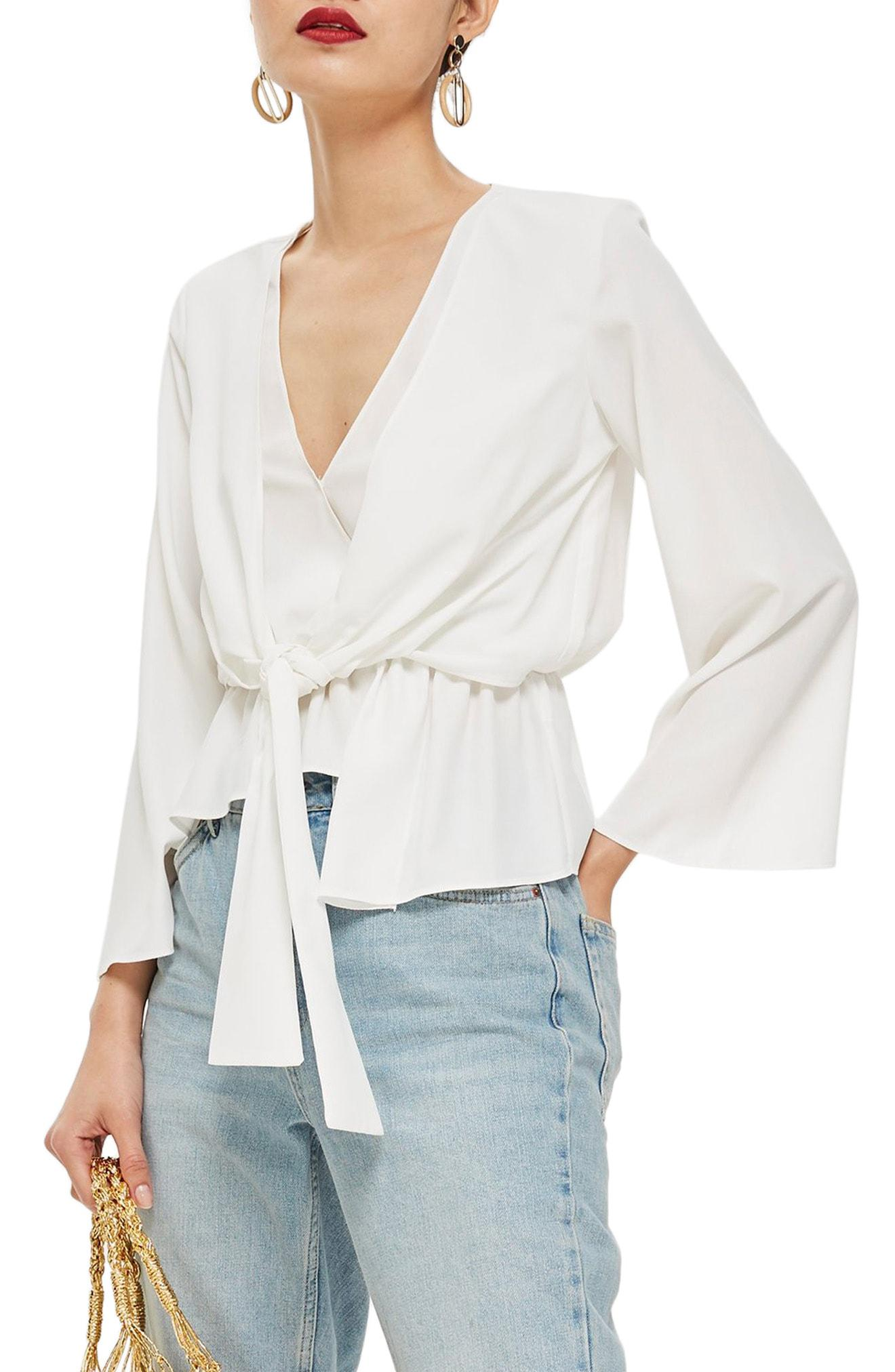 a7ab978ff354 TOPSHOP Tiffany Asymmetrical Blouse in White - Lyst
