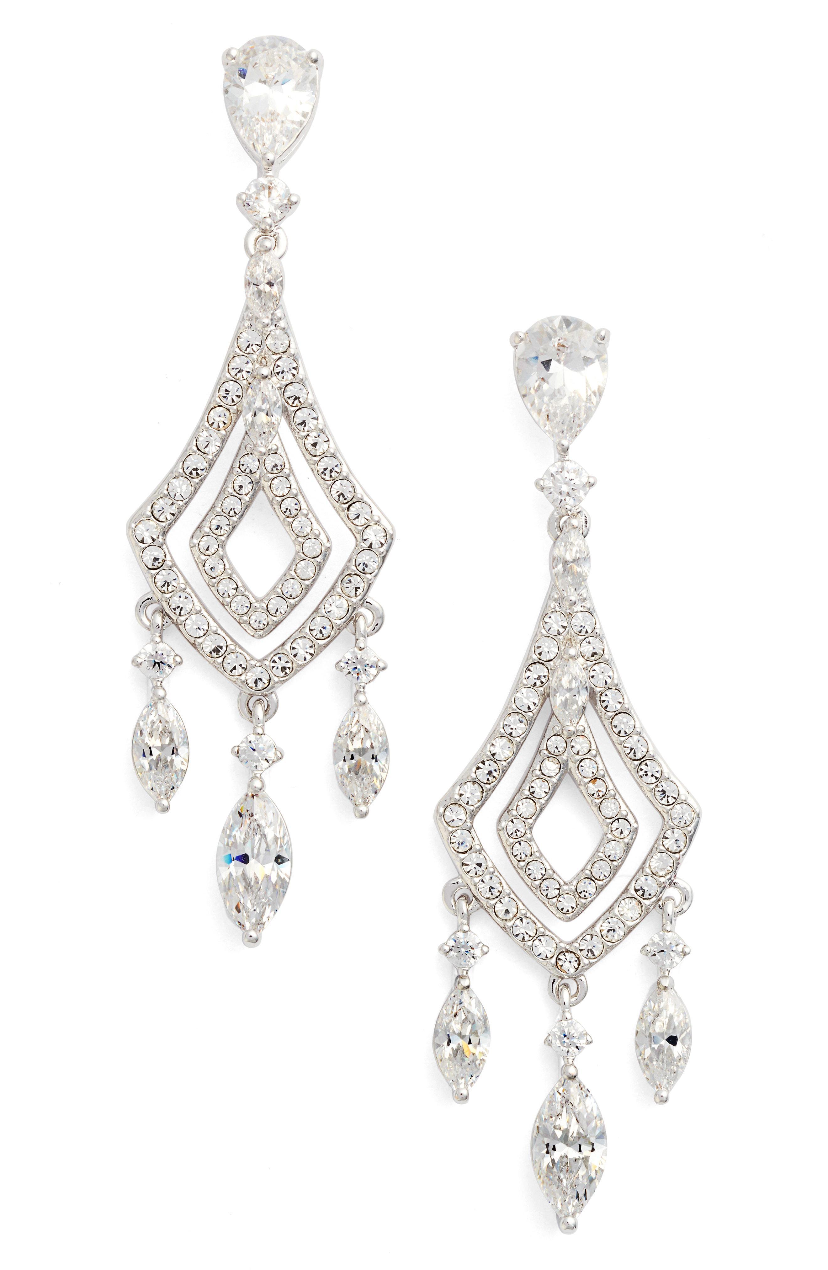 Nadri Women S Metallic Cubic Zirconia Chandelier Earrings