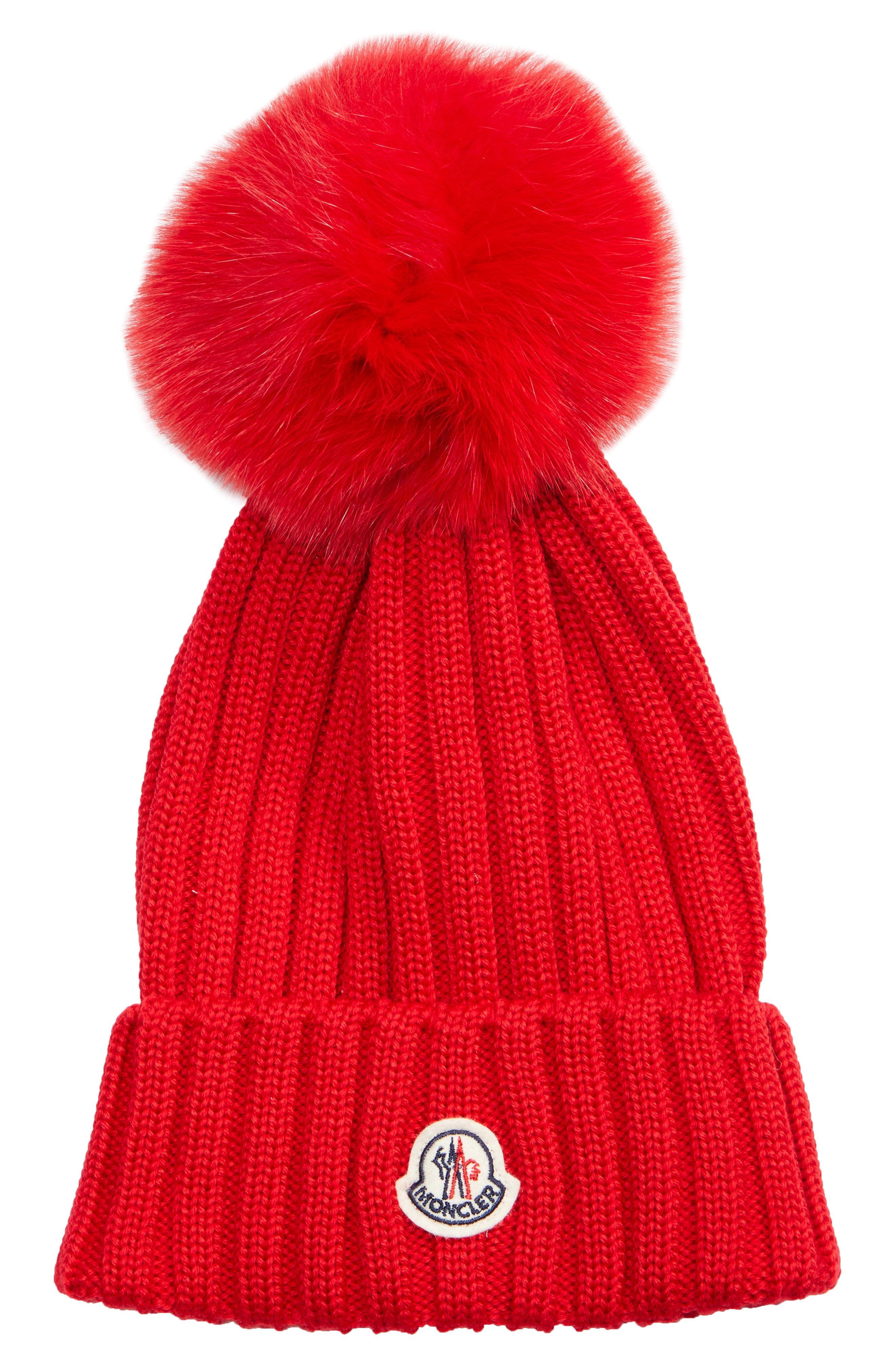 d2209ac6364 Lyst - Moncler Genuine Fox Fur Pom Wool Beanie - in Red - Save 37%