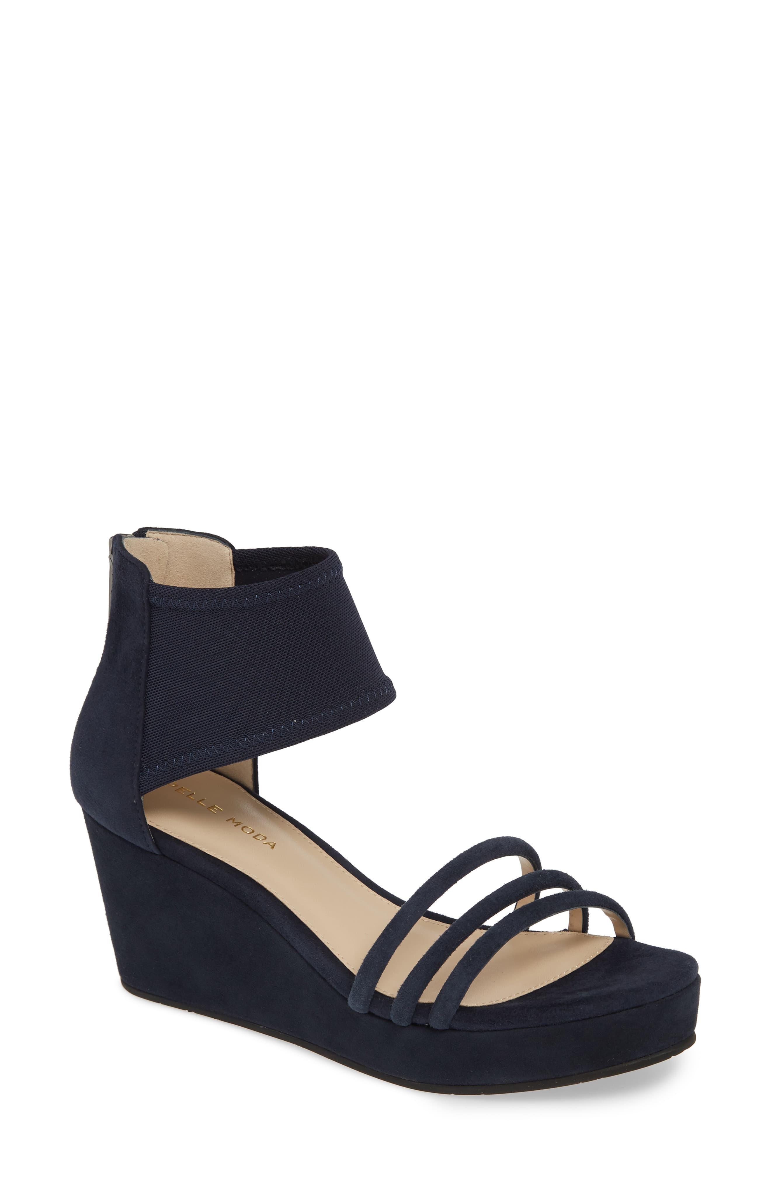 af4d1ba0f29 Lyst - Pelle Moda Katrice Platform Wedge Sandal in Blue