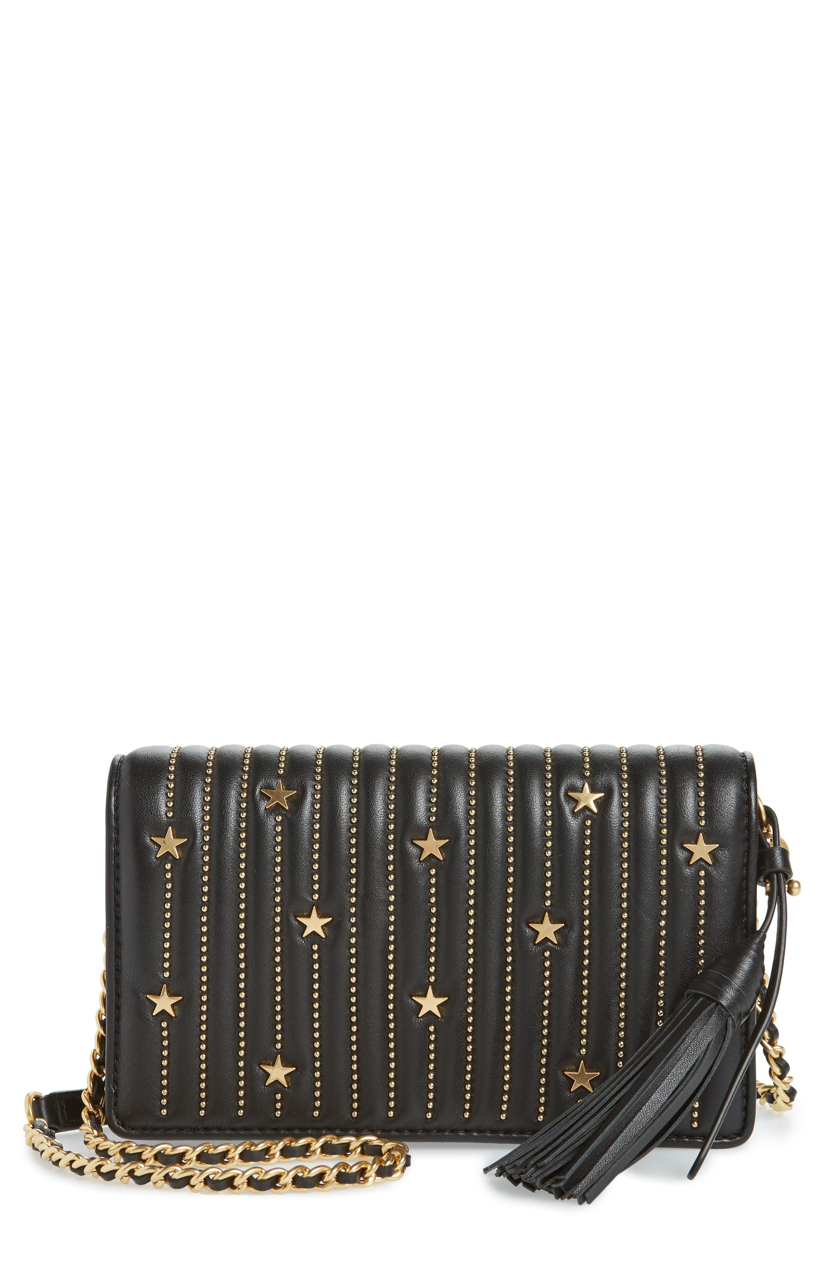 fbc786af8fc Lyst - Tory Burch Star Studded Leather Wallet On A Chain - in Black
