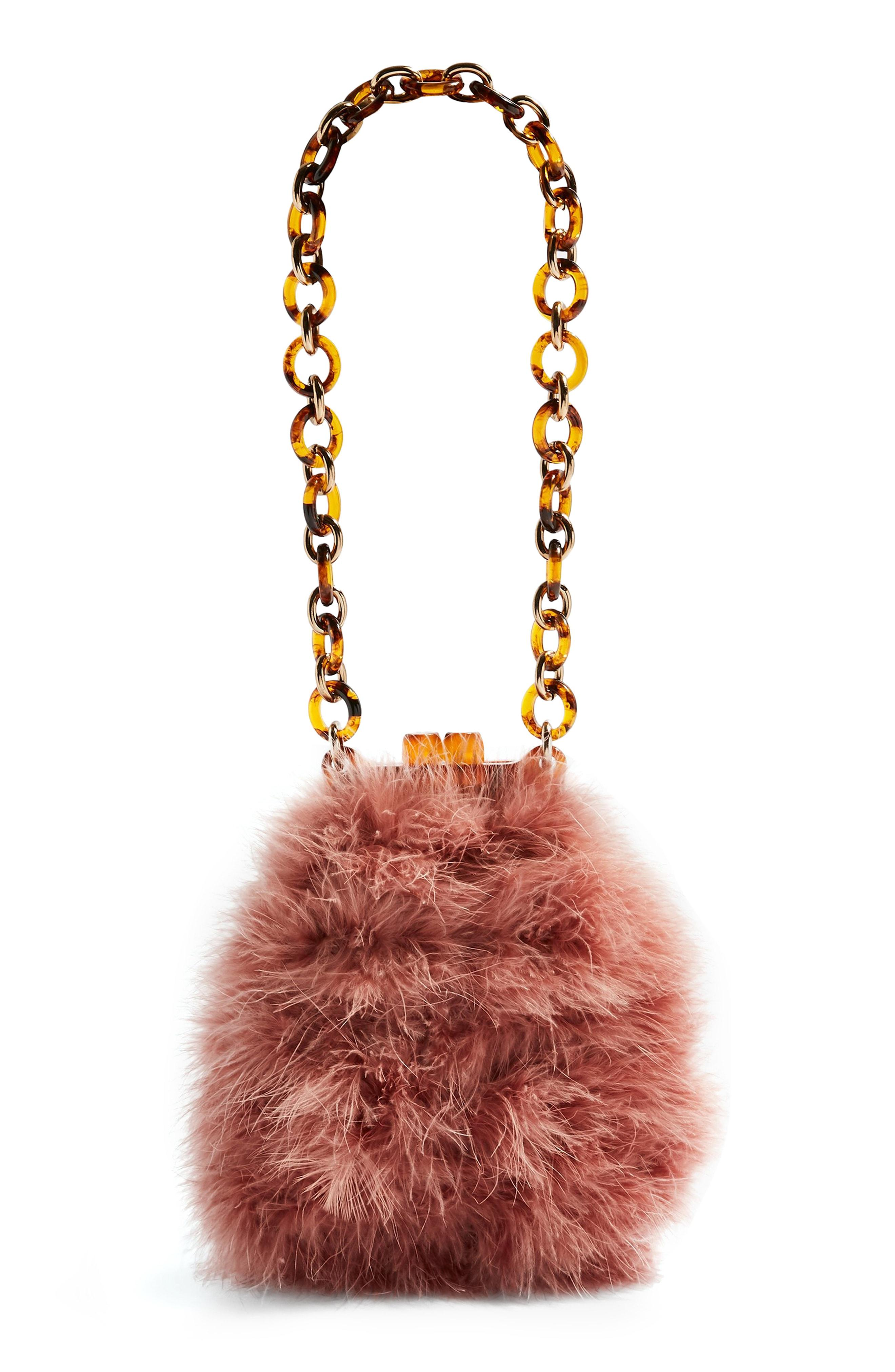 Lyst - TOPSHOP Marabou Clip Frame Bag in Pink 73e9d57b8e878
