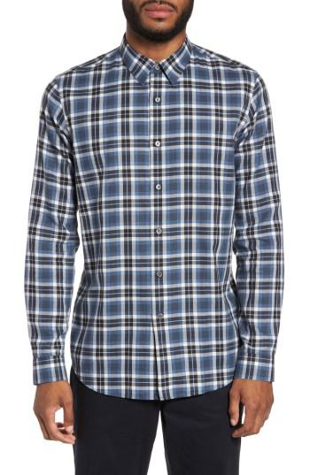Lyst Theory Trim Fit Plaid Flannel Shirt In Blue For Men