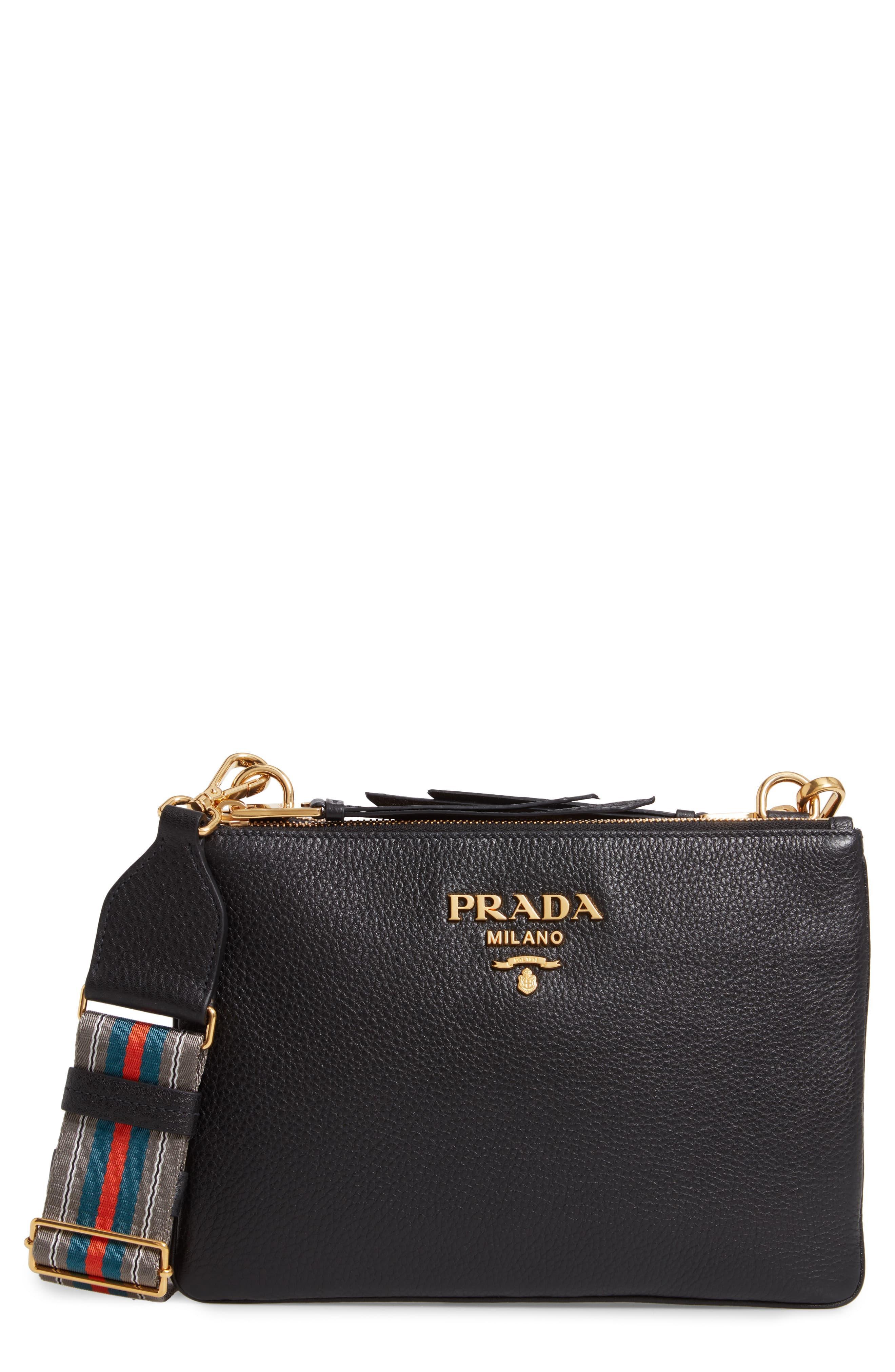 4dcd14ccaba Prada Vitello Daino Double Compartment Leather Crossbody Bag in ...