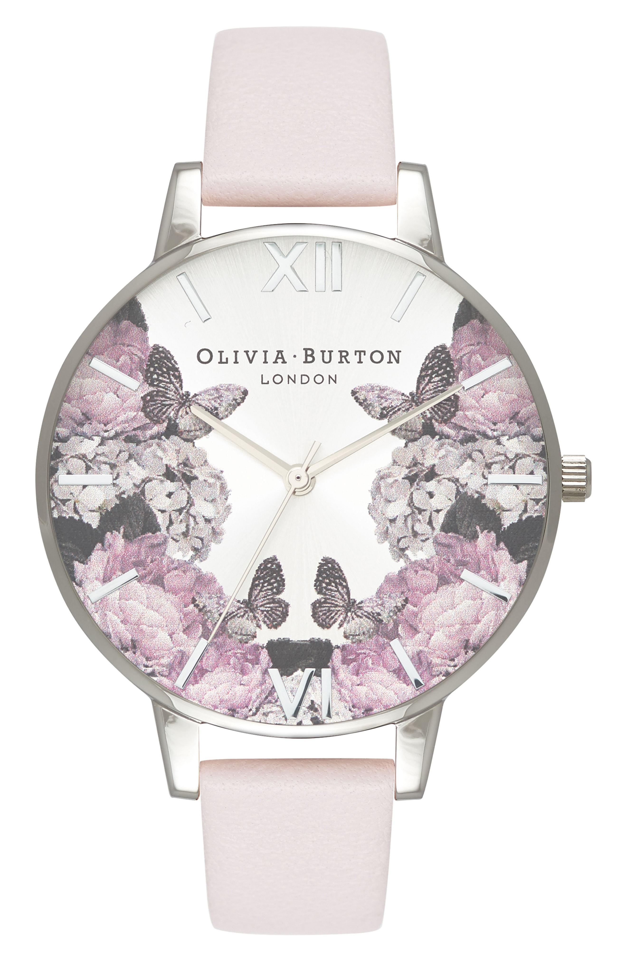 e194089746d Lyst - Olivia Burton Signature Floral Leather Strap Watch in Metallic