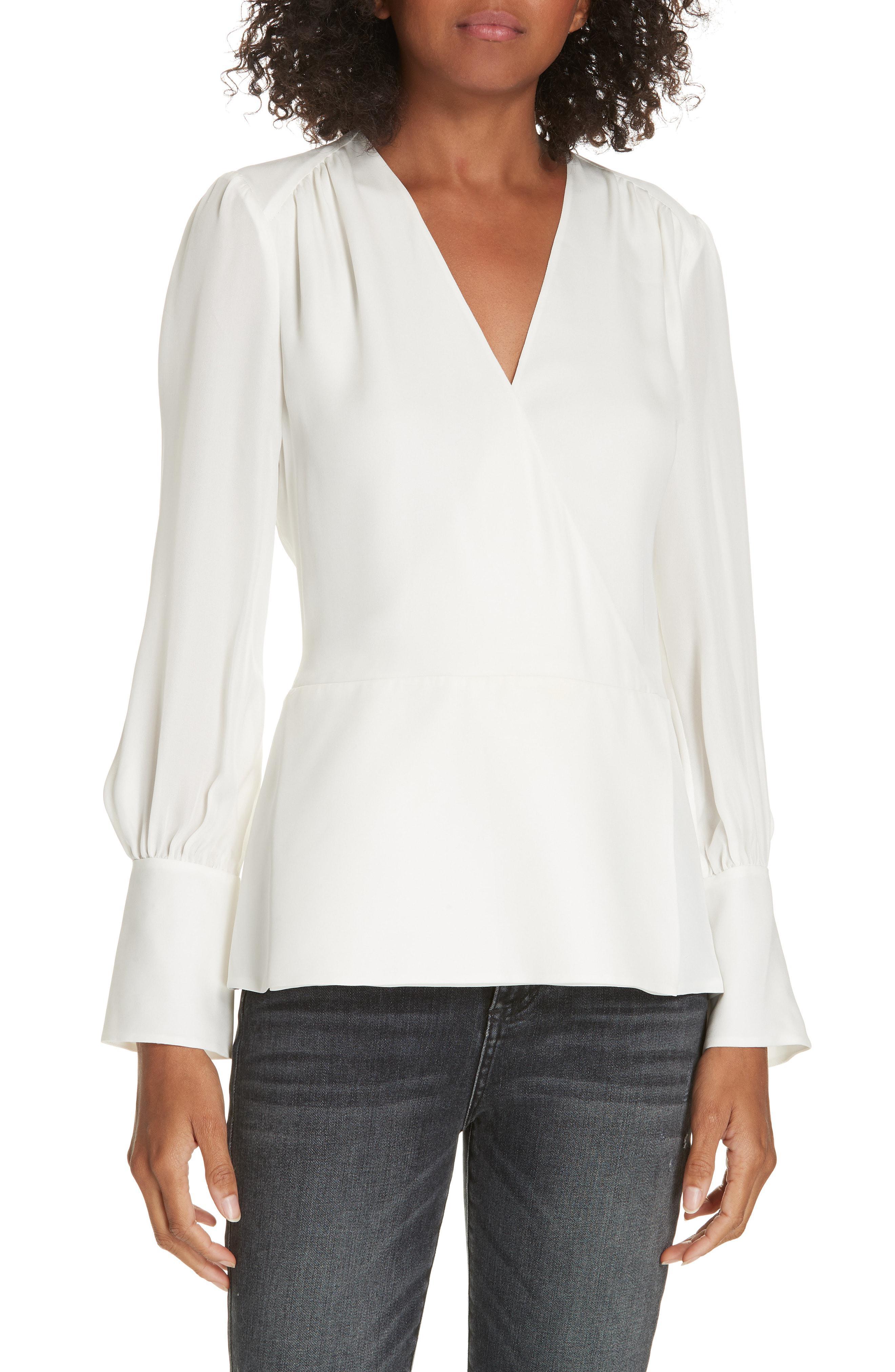 414d7ced68b164 Lyst - LEWIT Surplice Silk Blouse in White