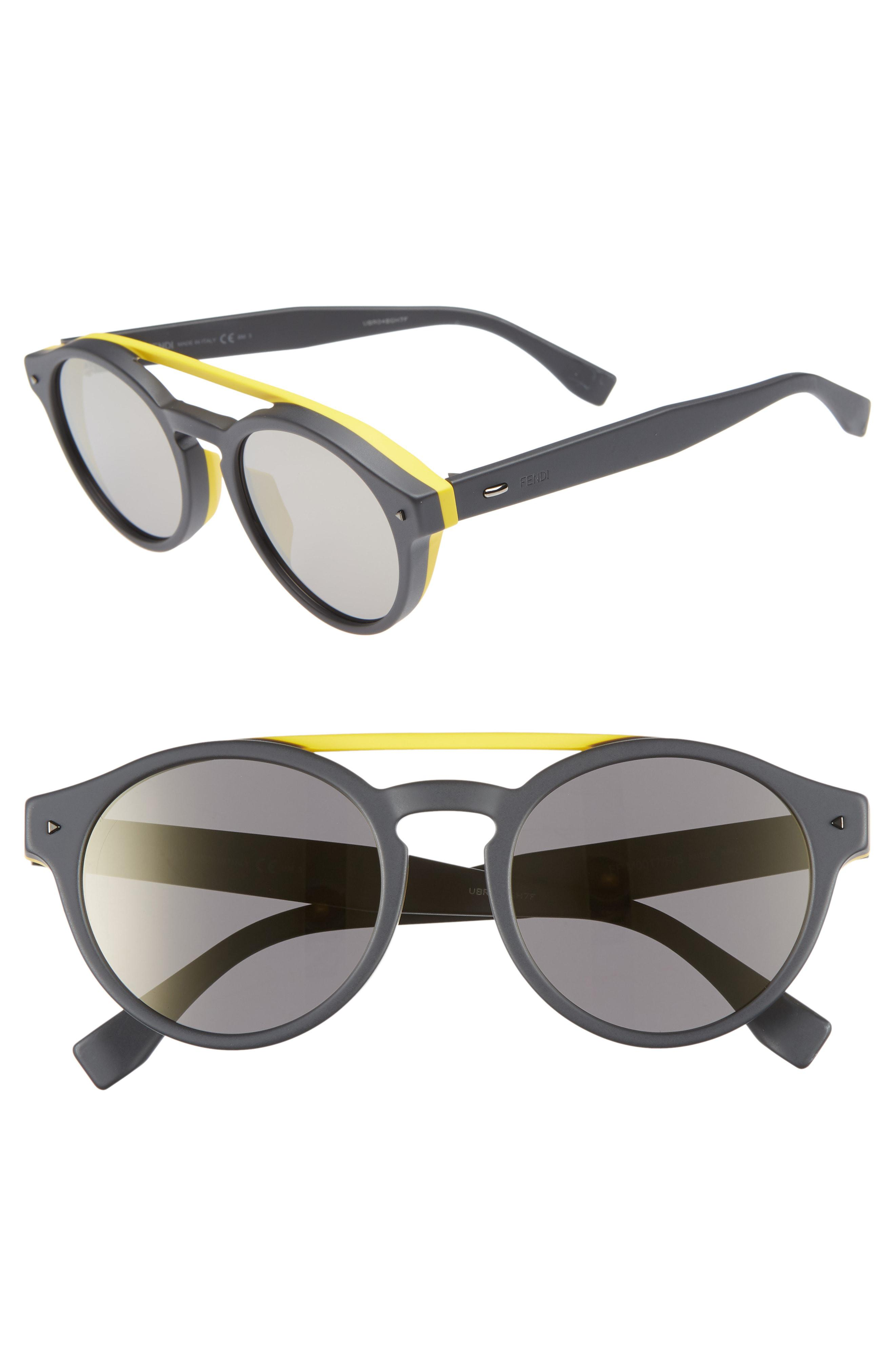 625653619eda Fendi - Gray 53mm Special Fit Round Sunglasses for Men - Lyst. View  fullscreen