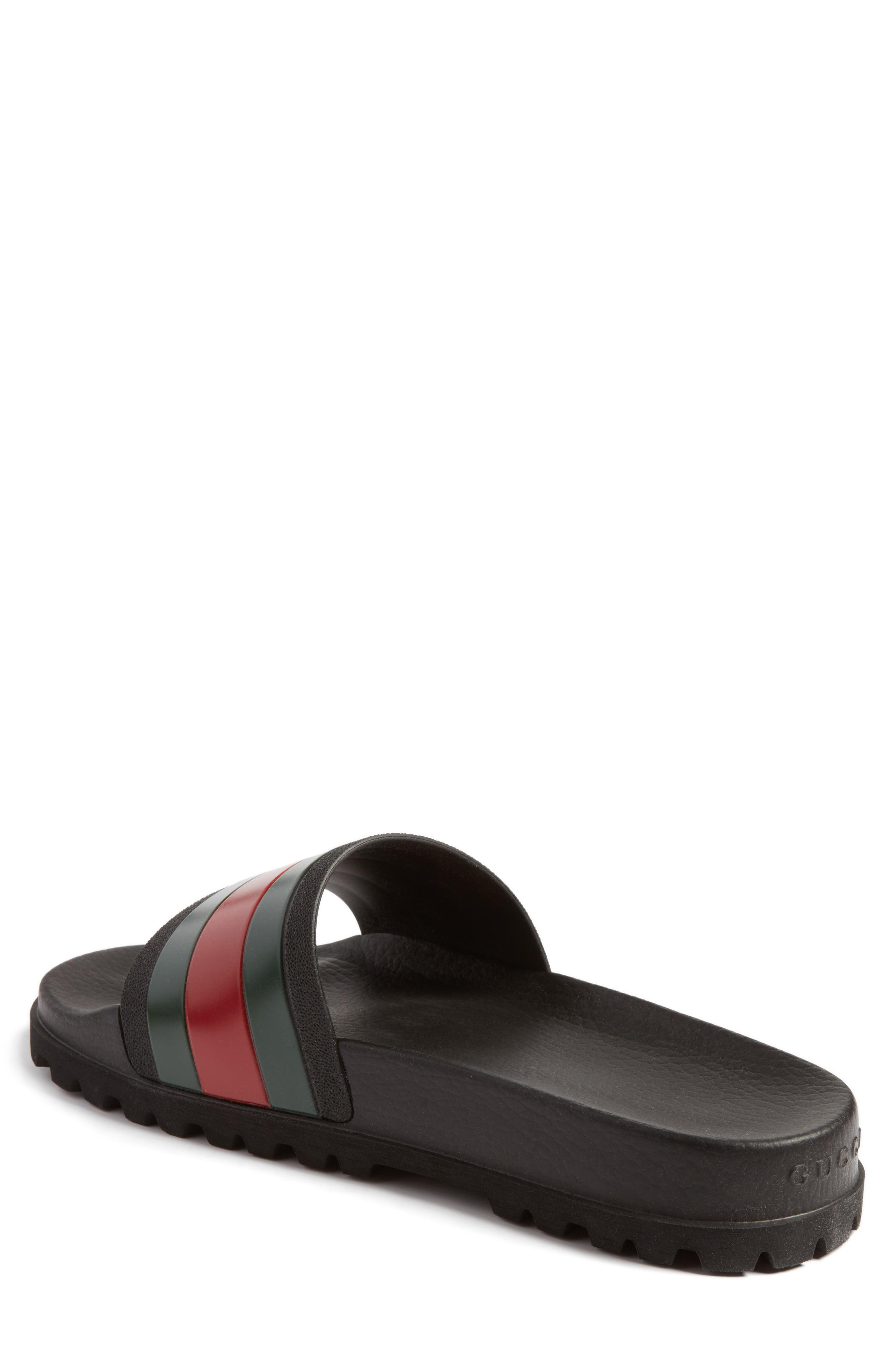 906303f96c0 Gucci - Black Striped Rubber Slides for Men - Lyst. View fullscreen
