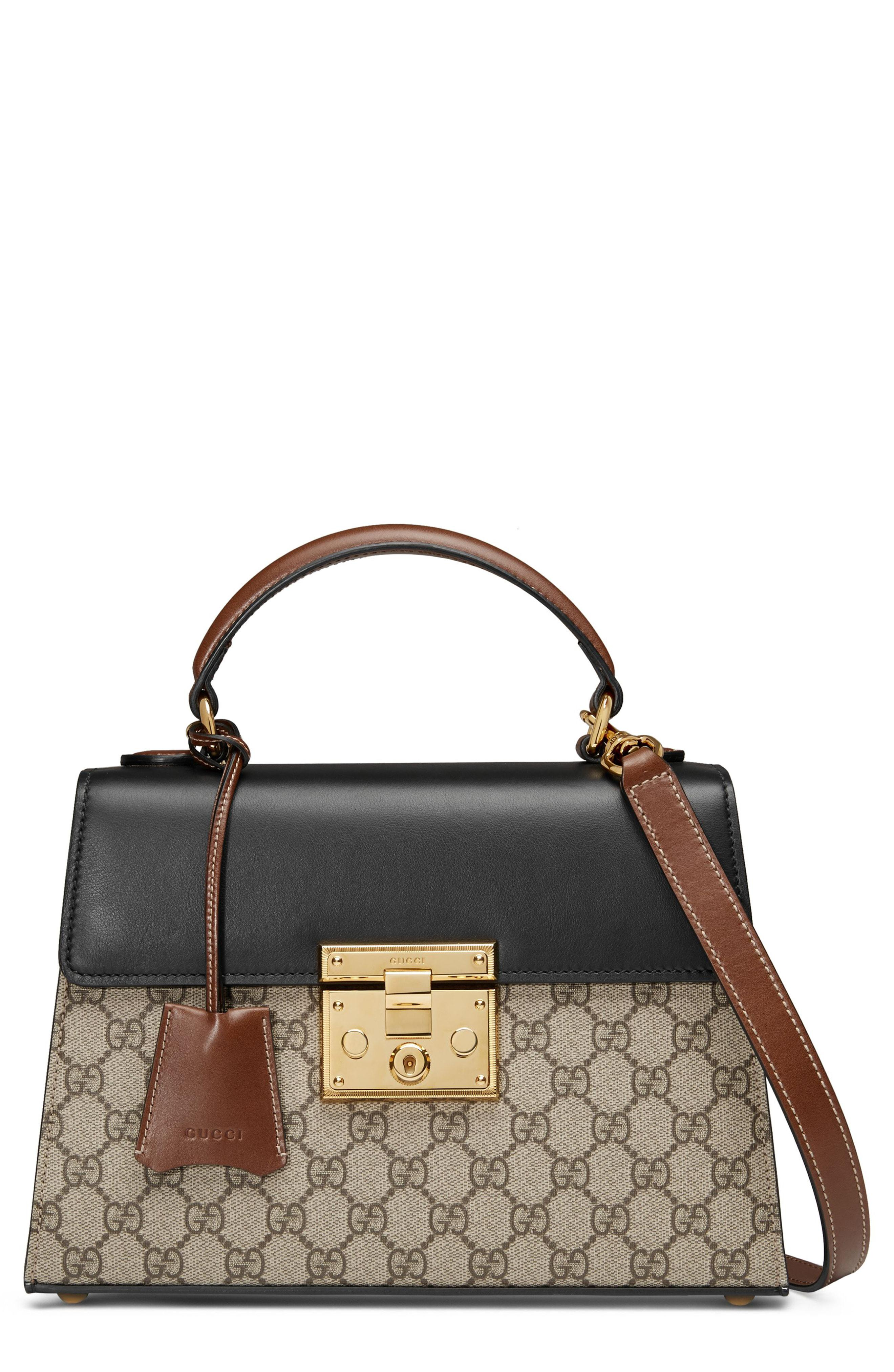 3bf28a16255 Gucci - Black Small Padlock Gg Supreme Canvas   Leather Top Handle Satchel  - - Lyst. View fullscreen