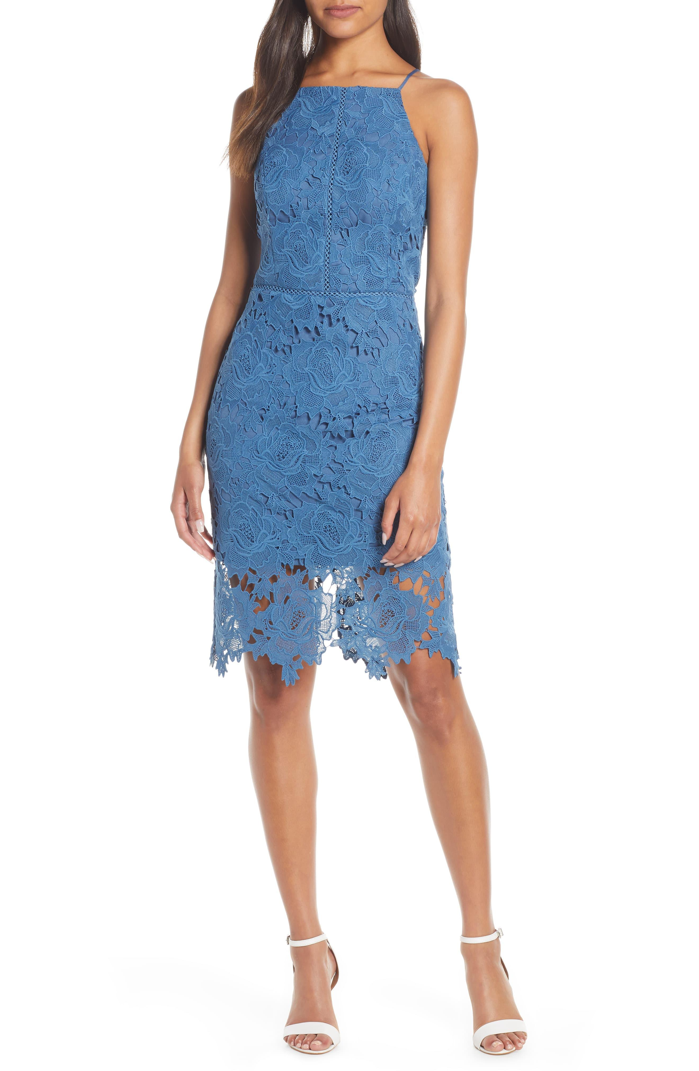 07a28ea21b45 Adelyn Rae Farrah Halter Neck Lace Cocktail Dress in Blue - Lyst