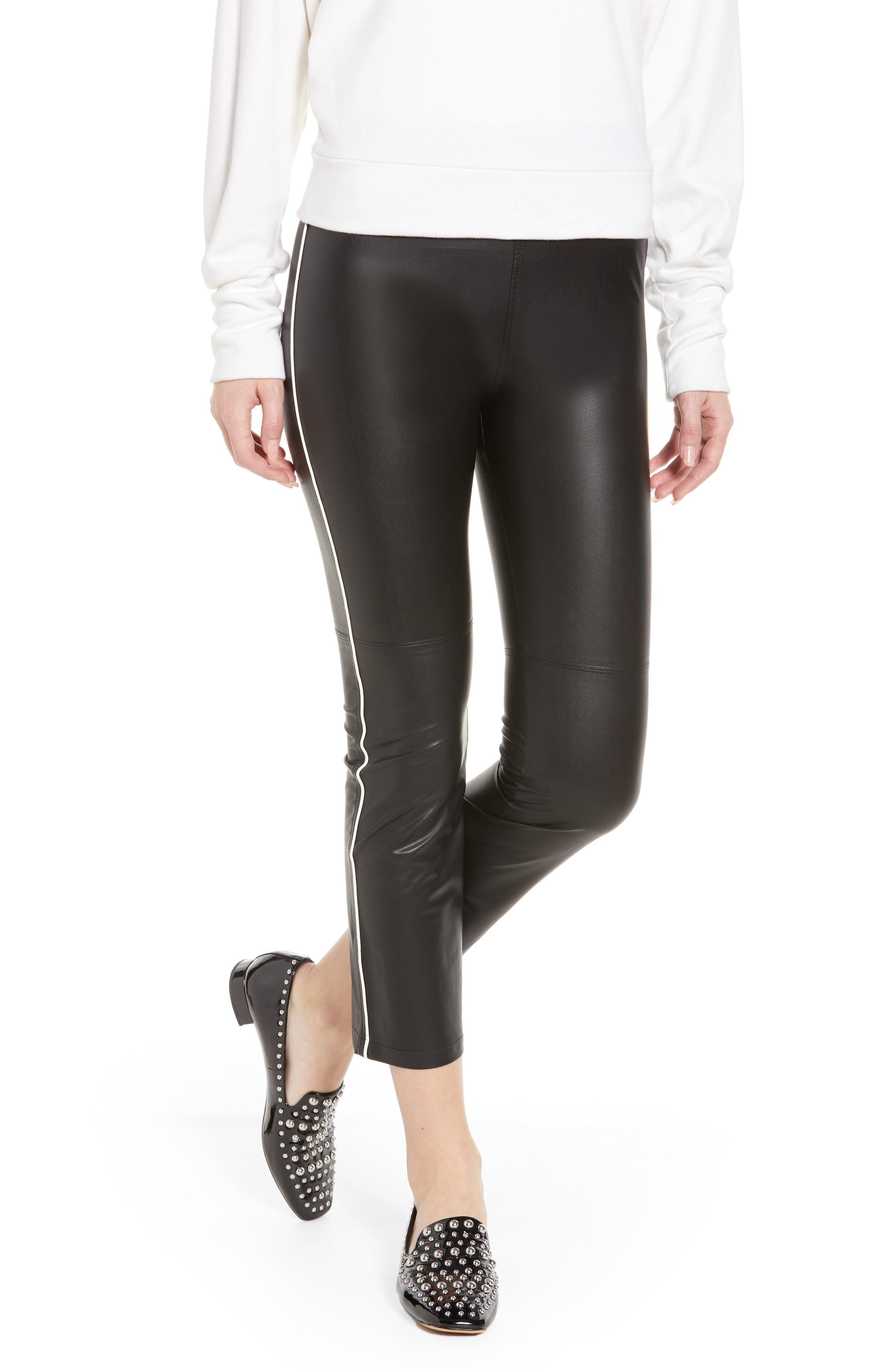 66494b64034f5 Lyst - David Lerner Gemma Faux Leather Skimmer Pants in Black