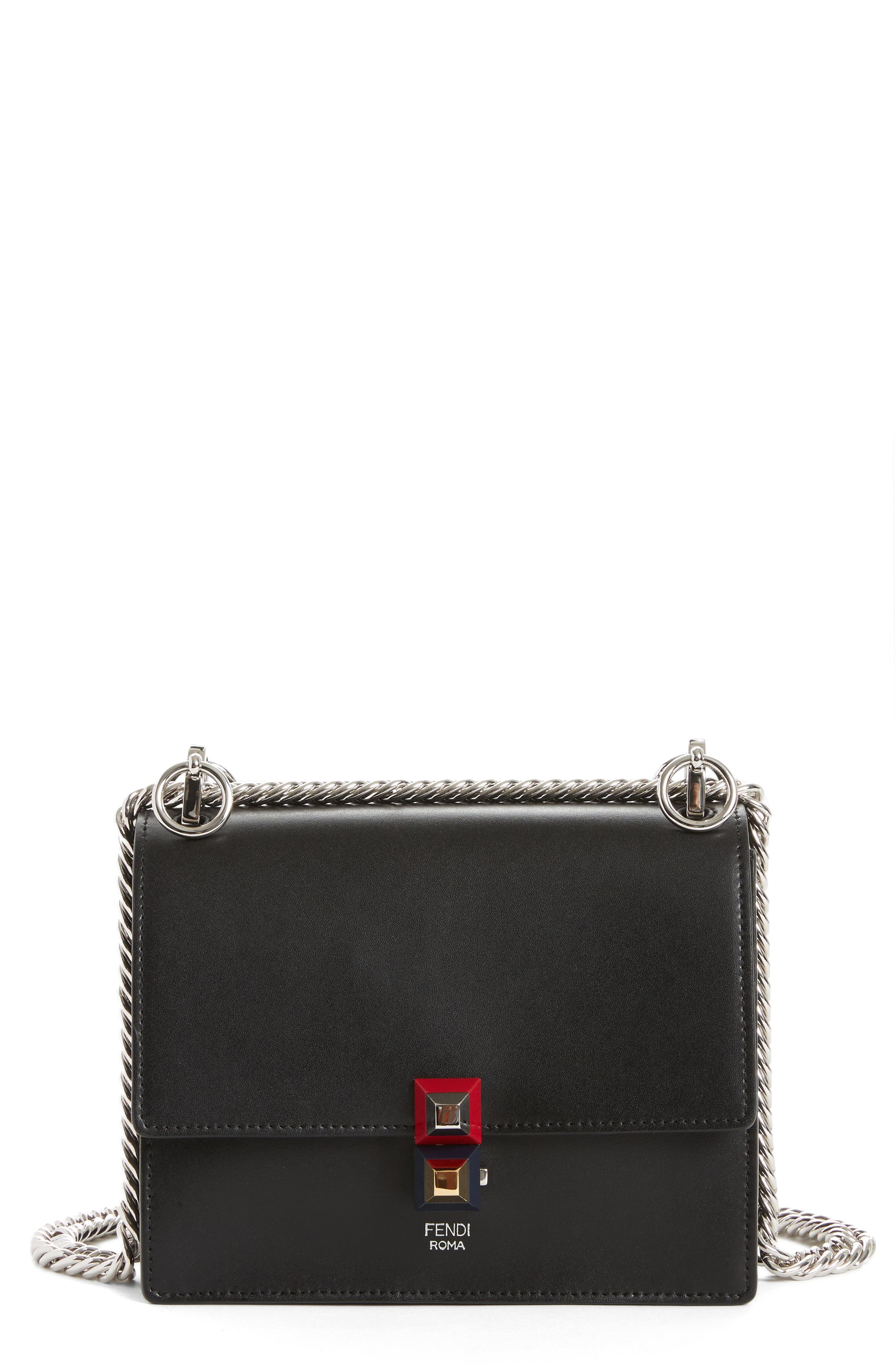 6fdb71846a73 Lyst - Fendi Small Kan I Leather Bag in Black