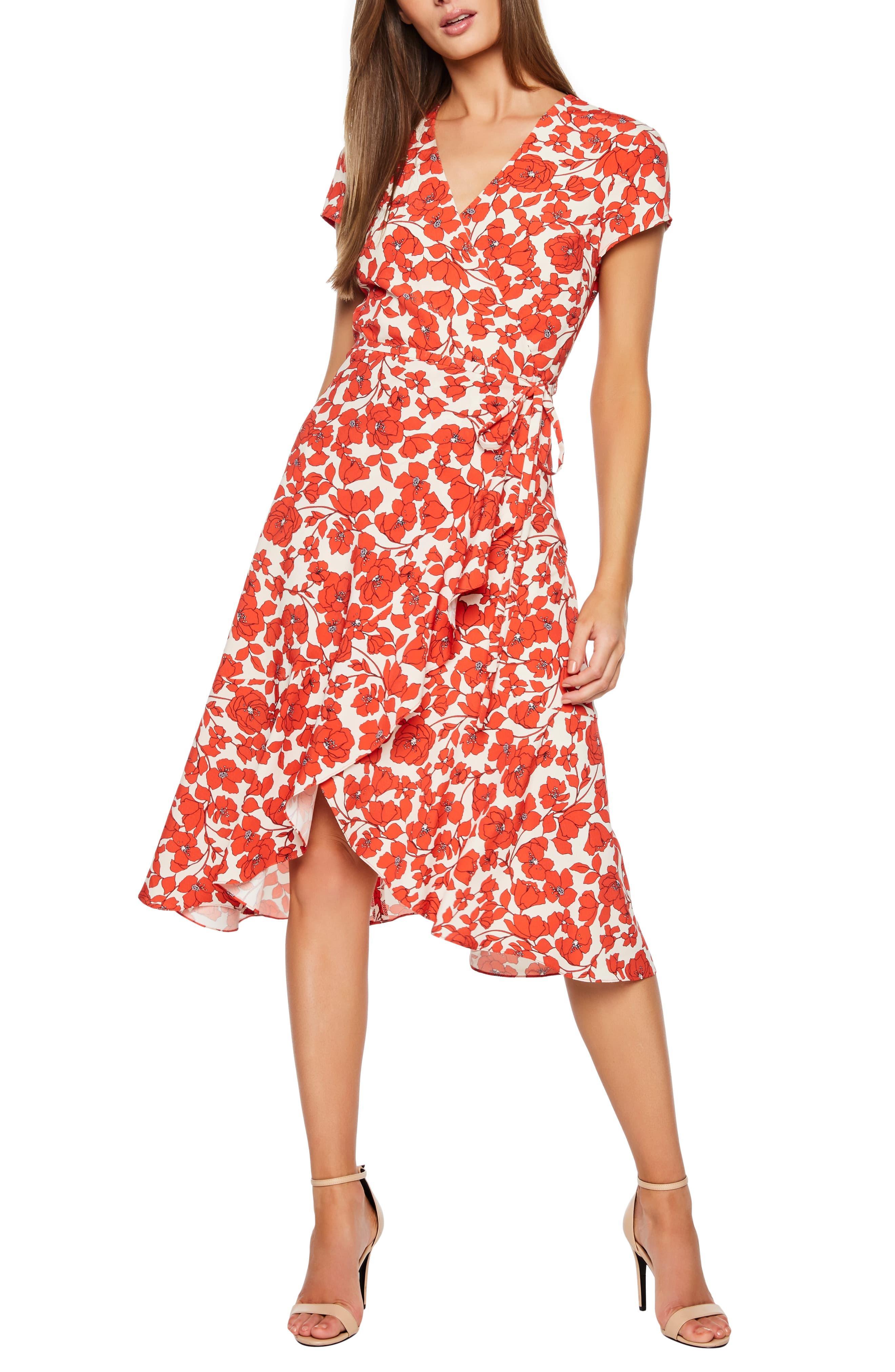 Fiesta Wrap Bardot Red In Dress Lyst Midi Floral Faux jLR54A