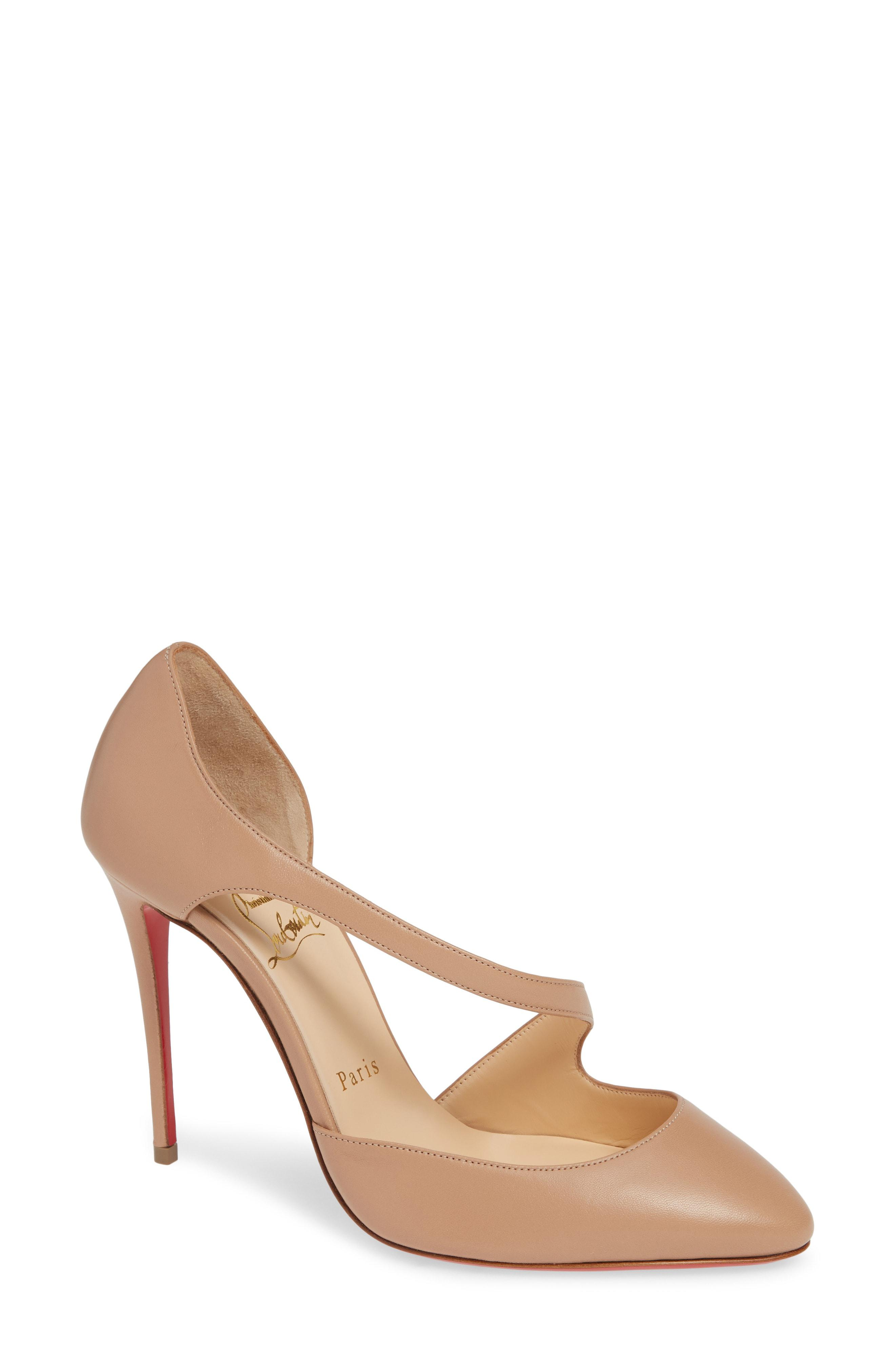 b3f9d327b3e Christian Louboutin Catchy One Strappy D'orsay Pump in Natural - Lyst