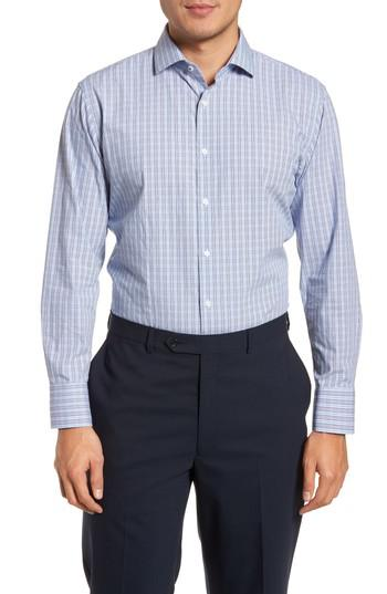 Lyst nordstrom tech smart trim fit grid dress shirt in for Nordstrom custom dress shirts