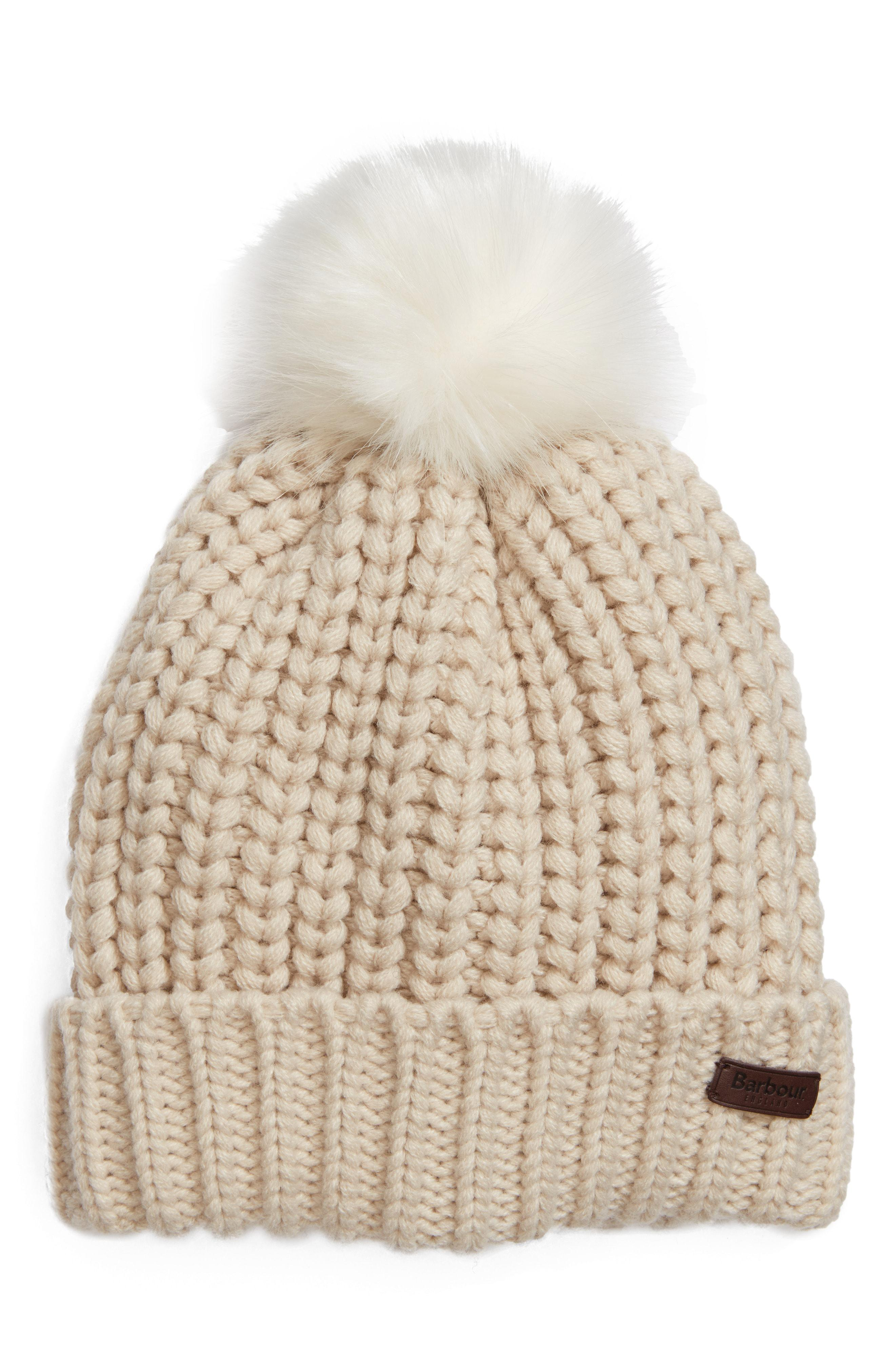 cc96b6eabef Lyst - Barbour Saltburn Beanie With Faux Fur Pom in Natural
