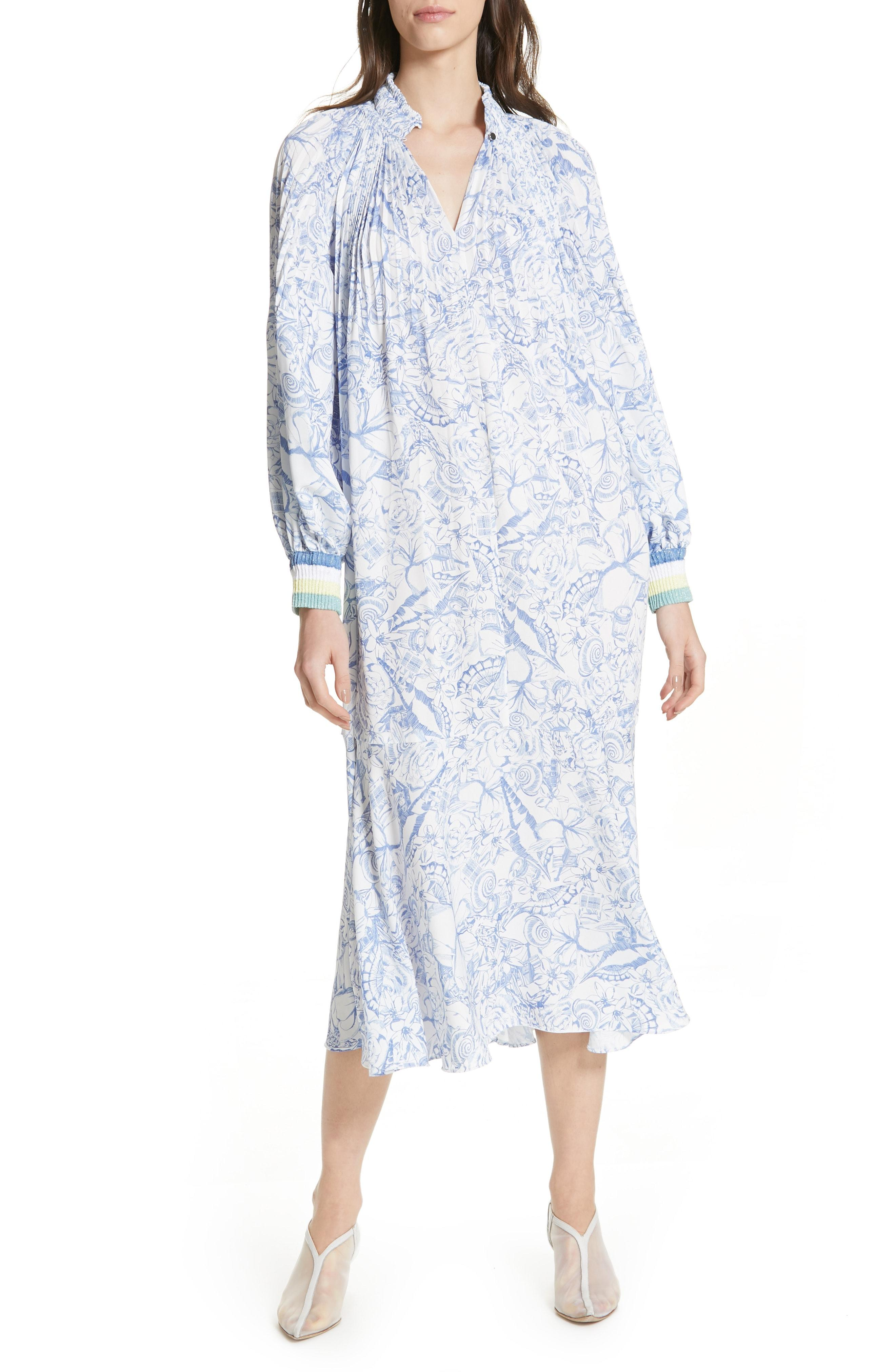956e0cf50cf Lyst - Tibi Isa Toile Print Ribbed Cuff Midi Dress in Blue
