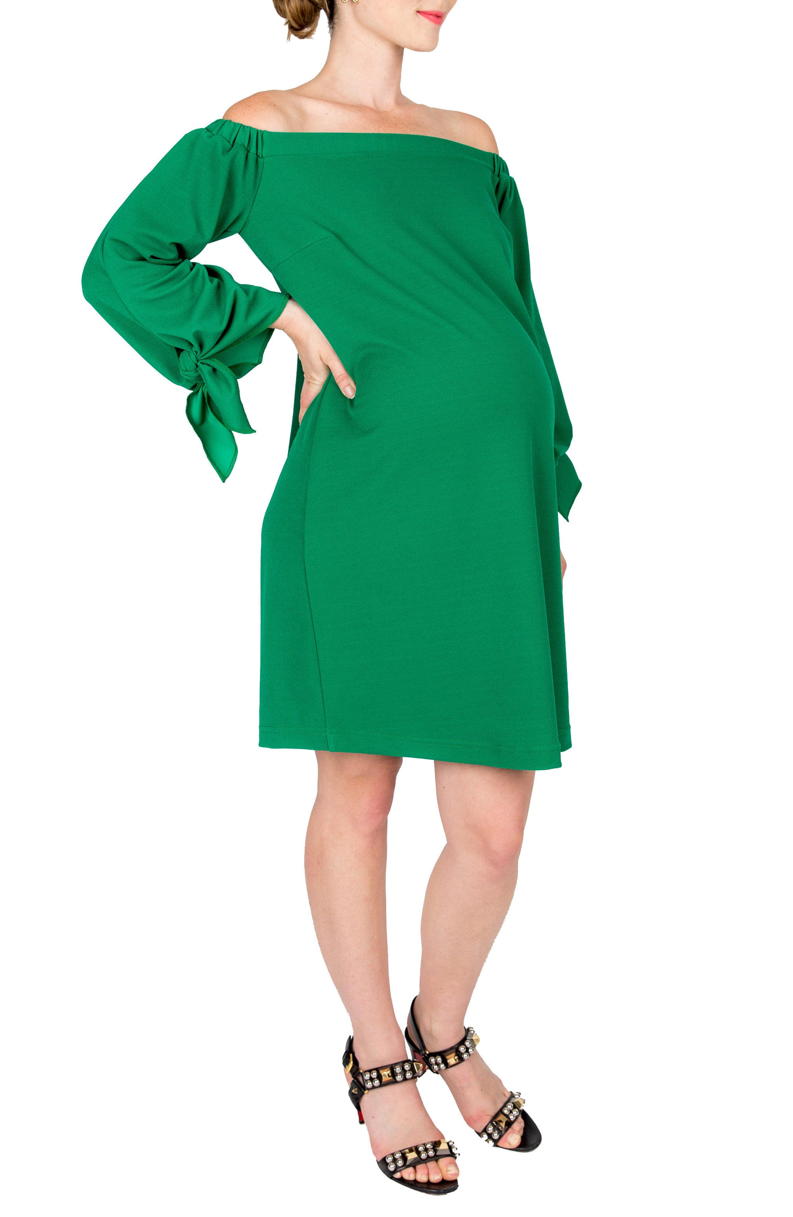 75e57fdc716 Lyst - Nom Maternity Octavia Off The Shoulder Maternity Dress in Green