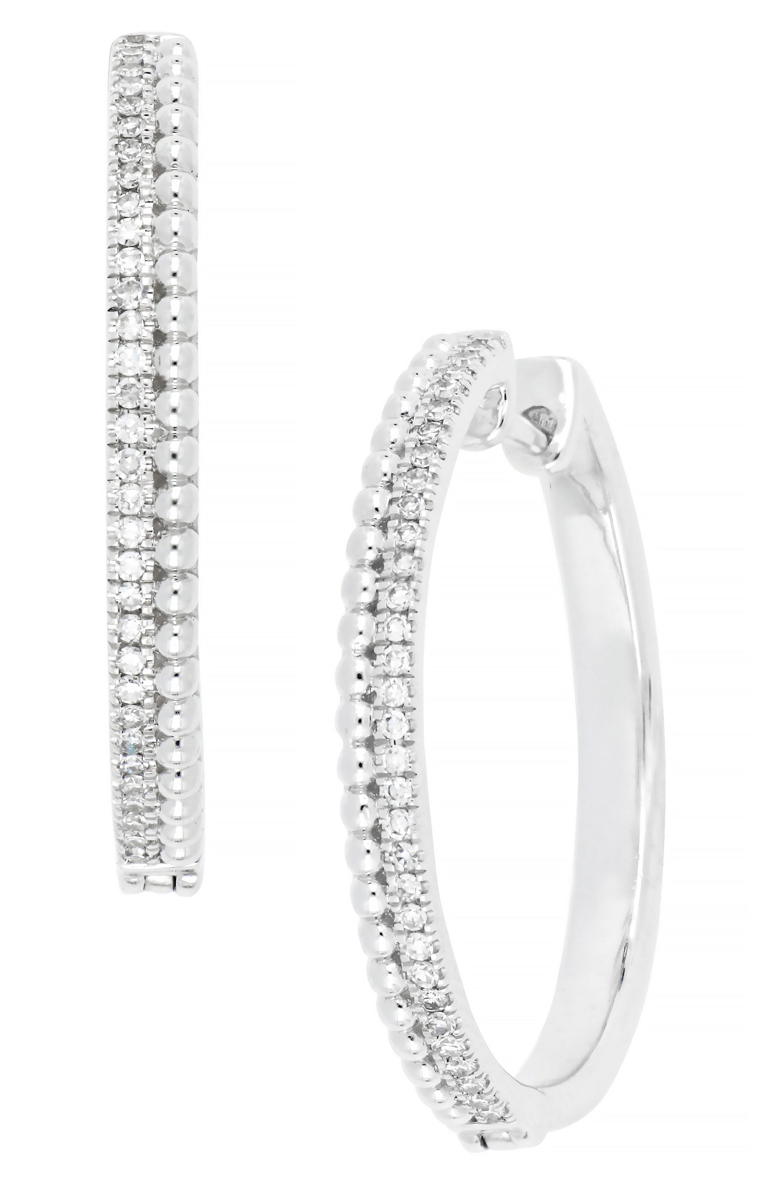 a94ce8e5d CARRIERE JEWELRY. Women's Carriere Medium Diamond Hoop Earrings ...