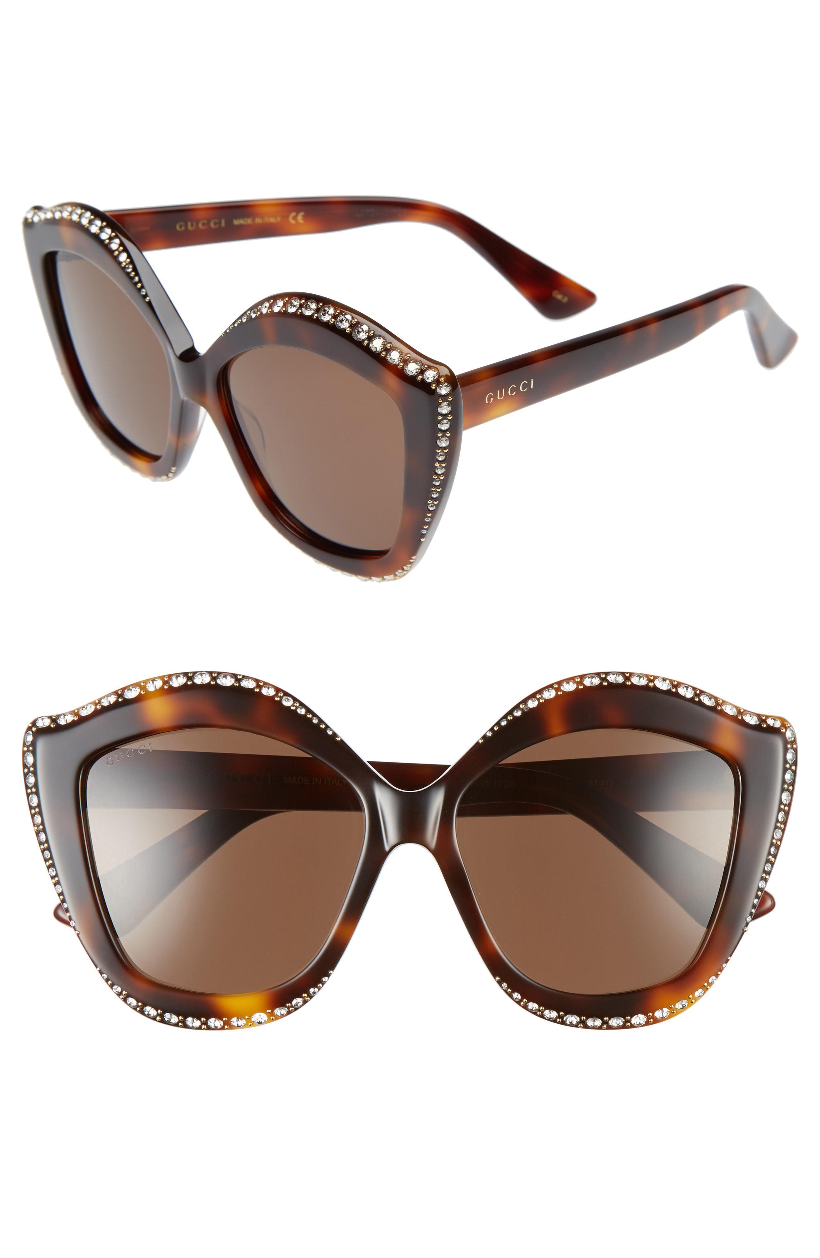 d1cd582691 Lyst - Gucci 52mm Cat Eye Sunglasses - in Brown