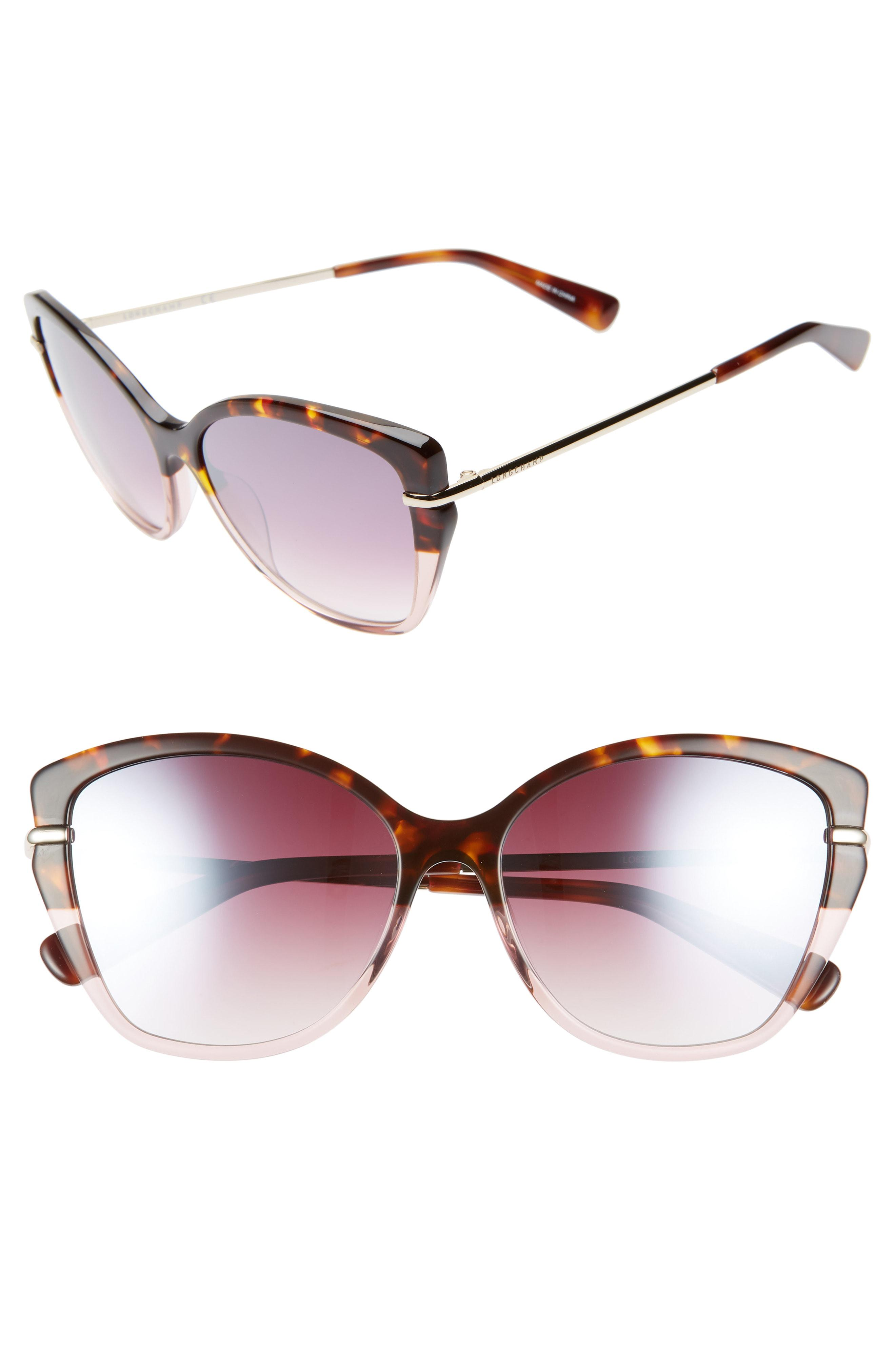 85156e2ba6 Lyst - Longchamp Heritage 57mm Butterfly Sunglasses in Pink