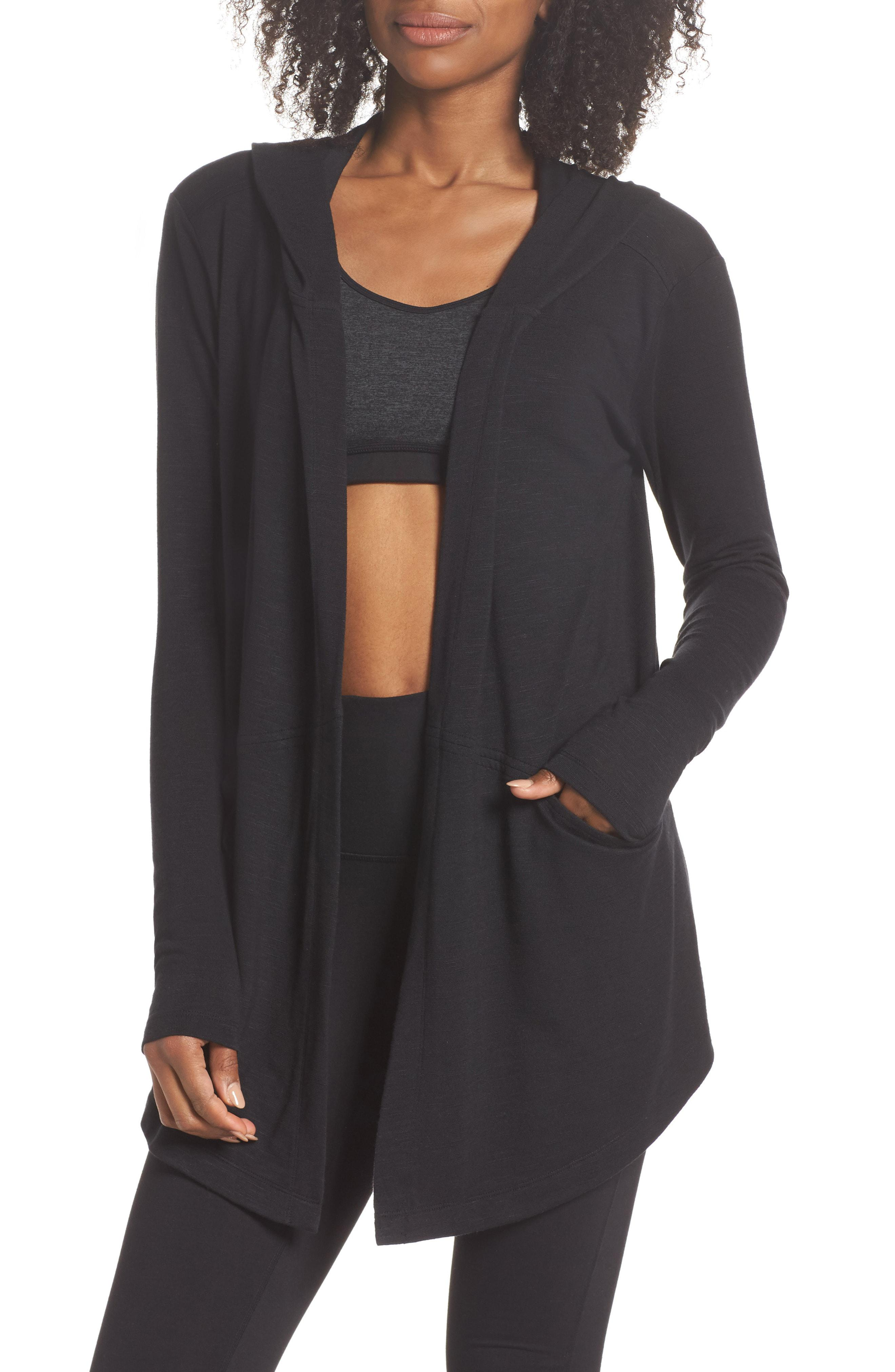 91a09a14db9 Lyst - Zella After Class Hooded Cardigan in Gray