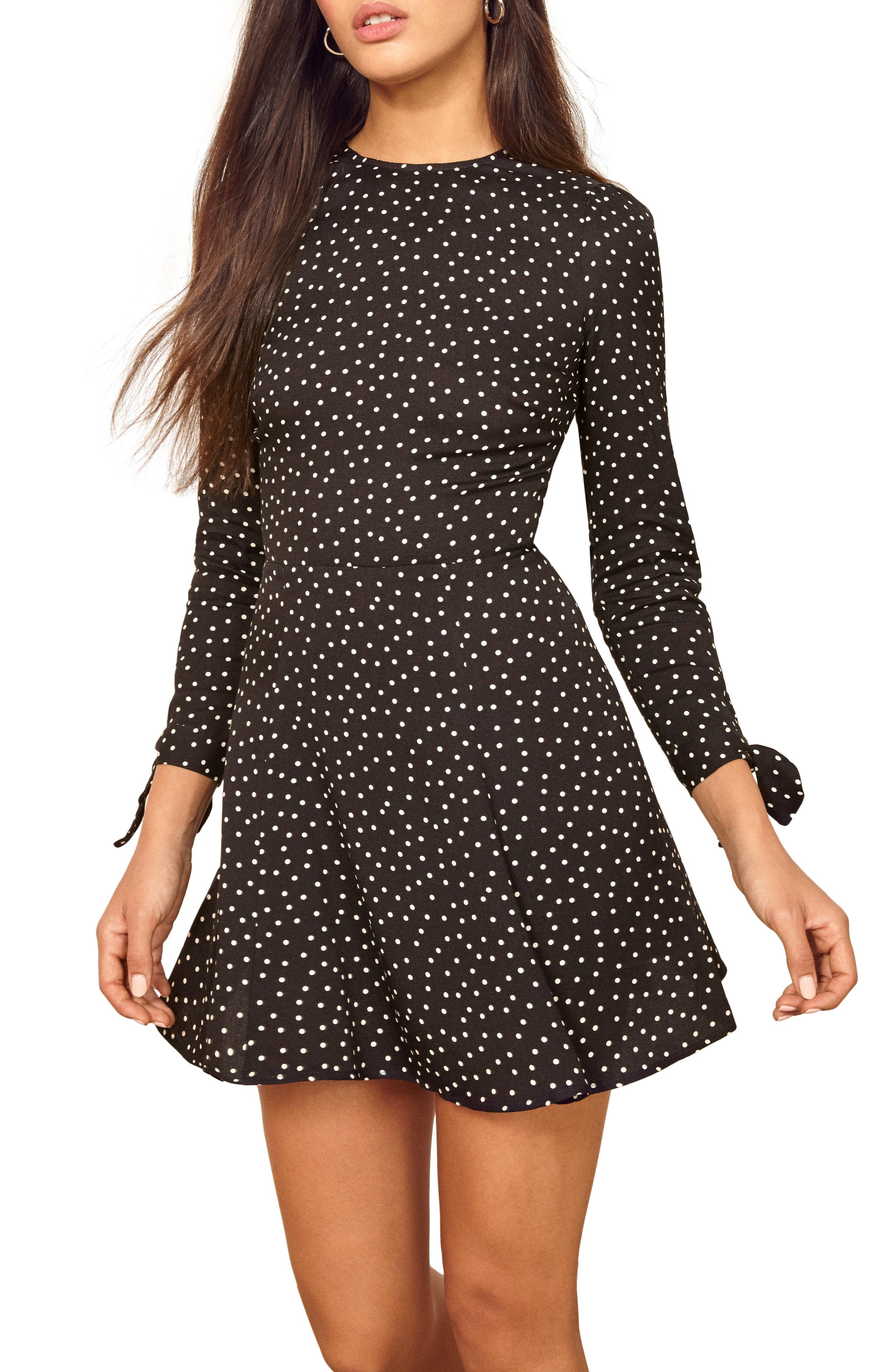 56e82c115ace9b Lyst - Reformation Samantha Fit & Flare Dress in Black