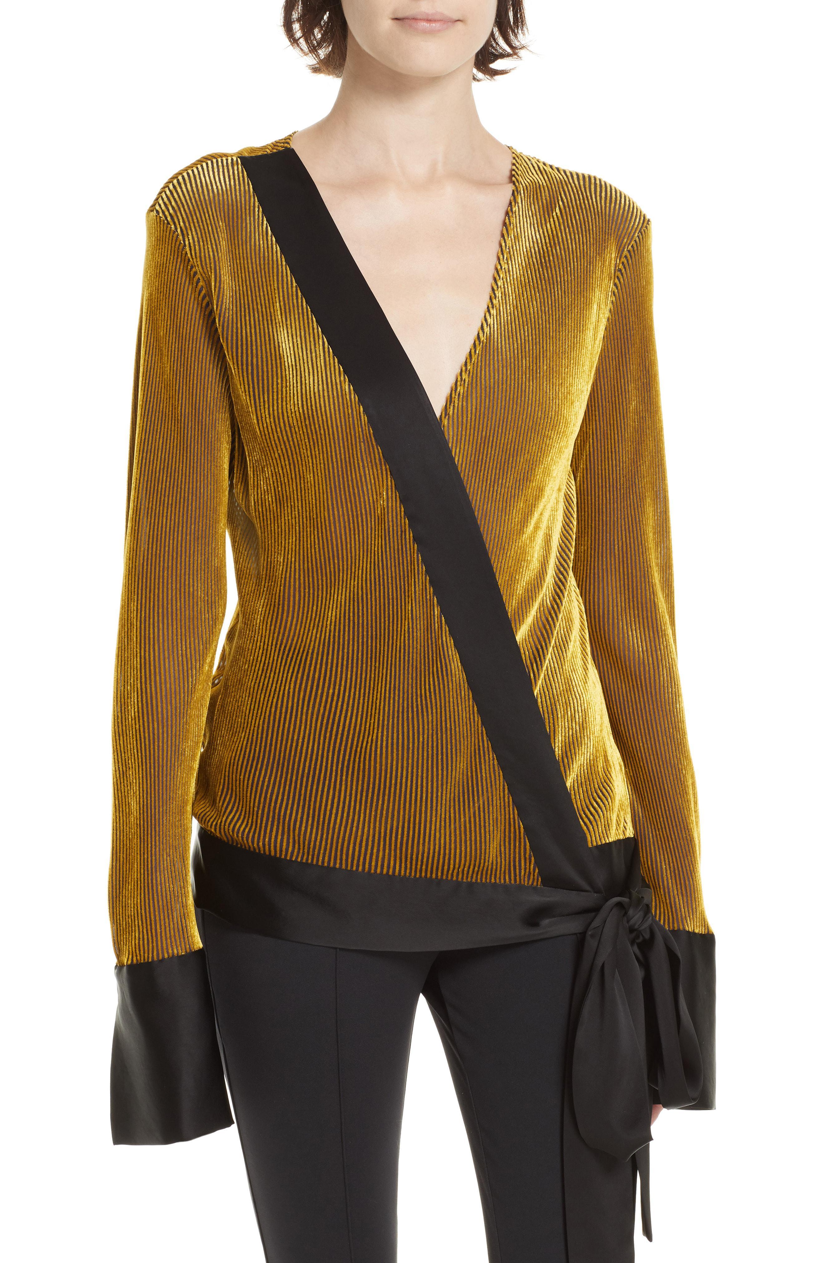 3ce9b9465db017 Lyst - Diane Von Furstenberg Crossover Long Sleeve Blouse in Metallic