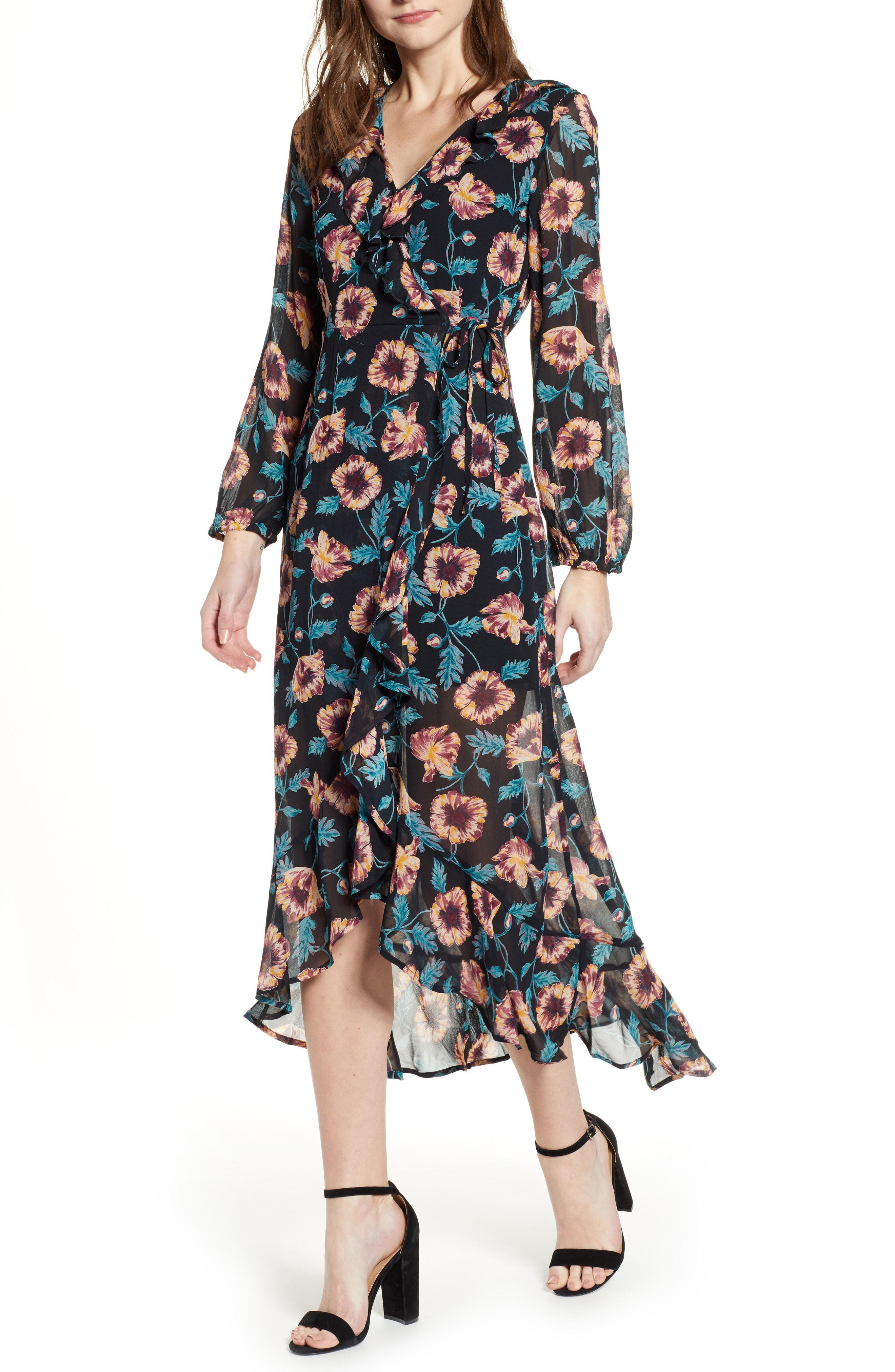 6fbaac699119 Lyst - Band Of Gypsies Reese Floral Print Midi Dress in Blue